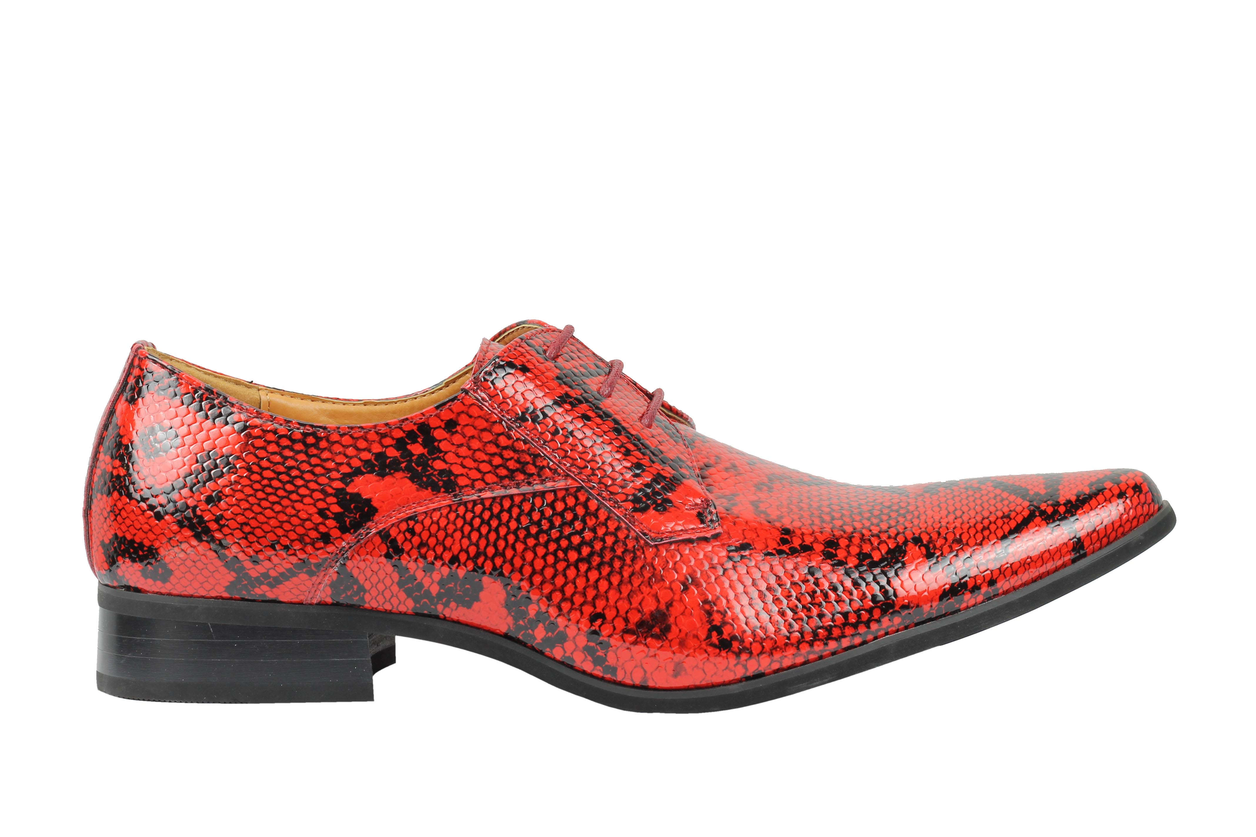 Mens-Leather-Lined-Snake-Skin-Print-Shiny-Patent-Leather-Smart-Party-Retro-Shoes thumbnail 21