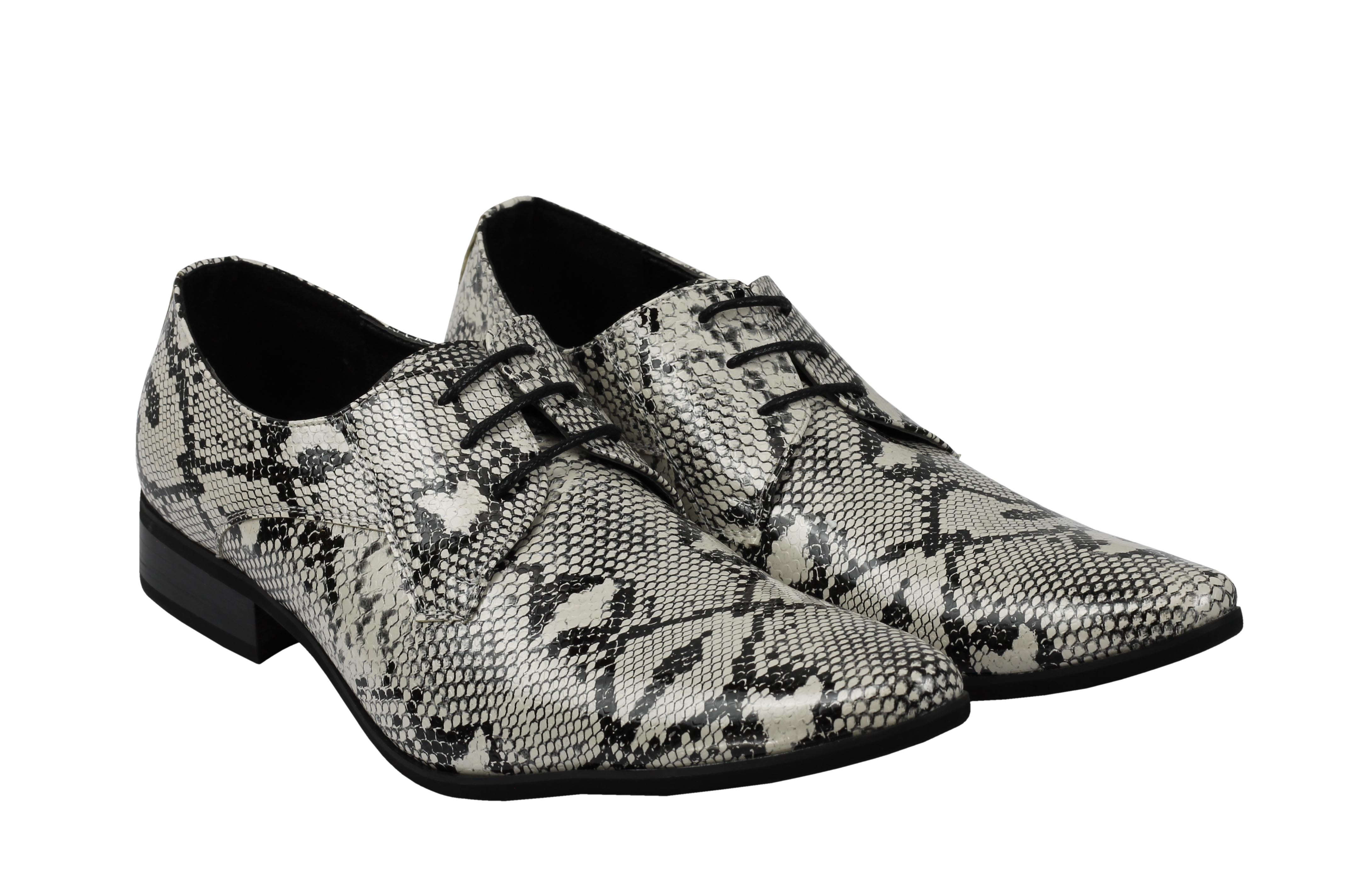 Mens-Leather-Lined-Snake-Skin-Print-Shiny-Patent-Leather-Smart-Party-Retro-Shoes thumbnail 25
