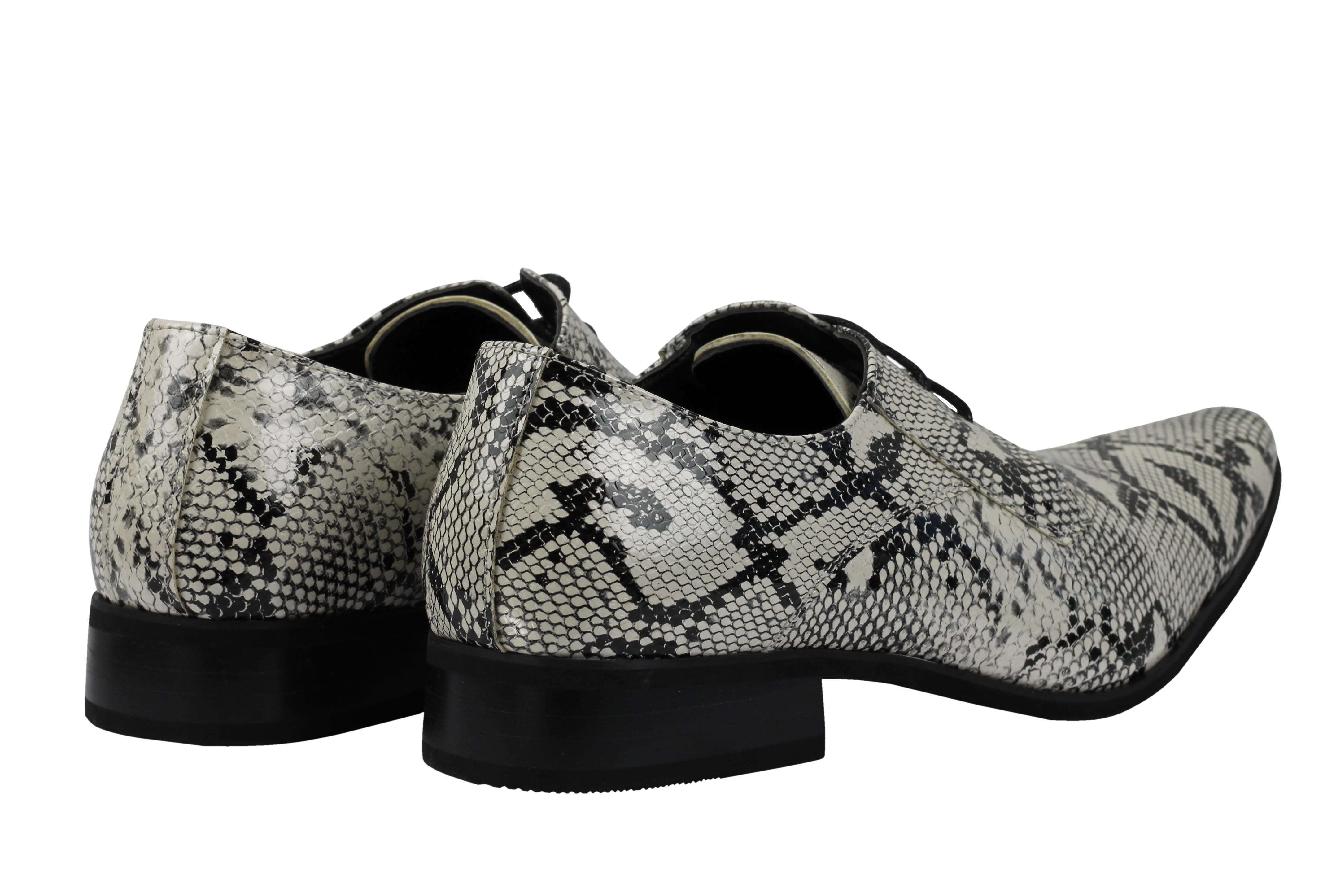 Mens-Leather-Lined-Snake-Skin-Print-Shiny-Patent-Leather-Smart-Party-Retro-Shoes thumbnail 28
