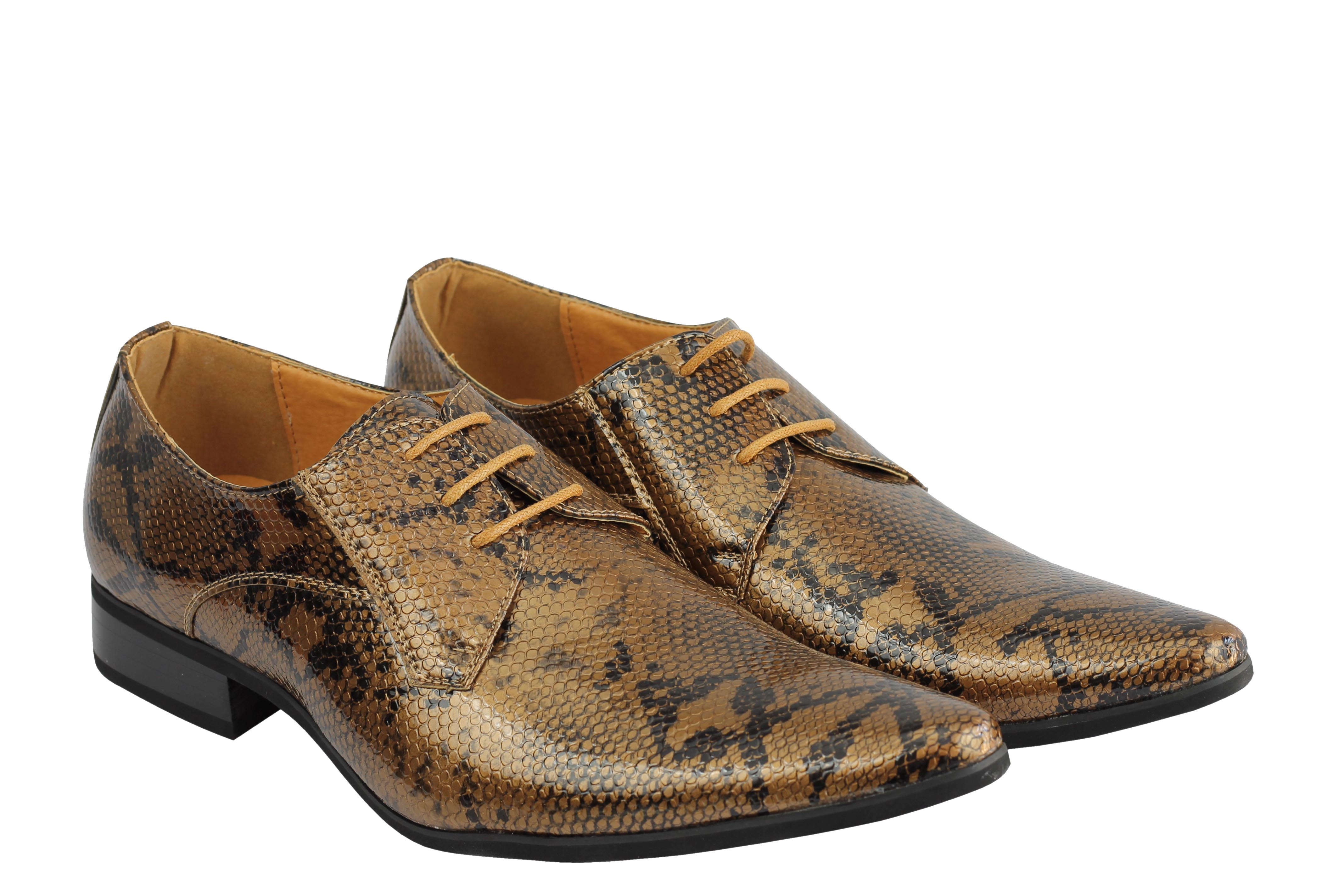 Mens-Leather-Lined-Snake-Skin-Print-Shiny-Patent-Leather-Smart-Party-Retro-Shoes thumbnail 9