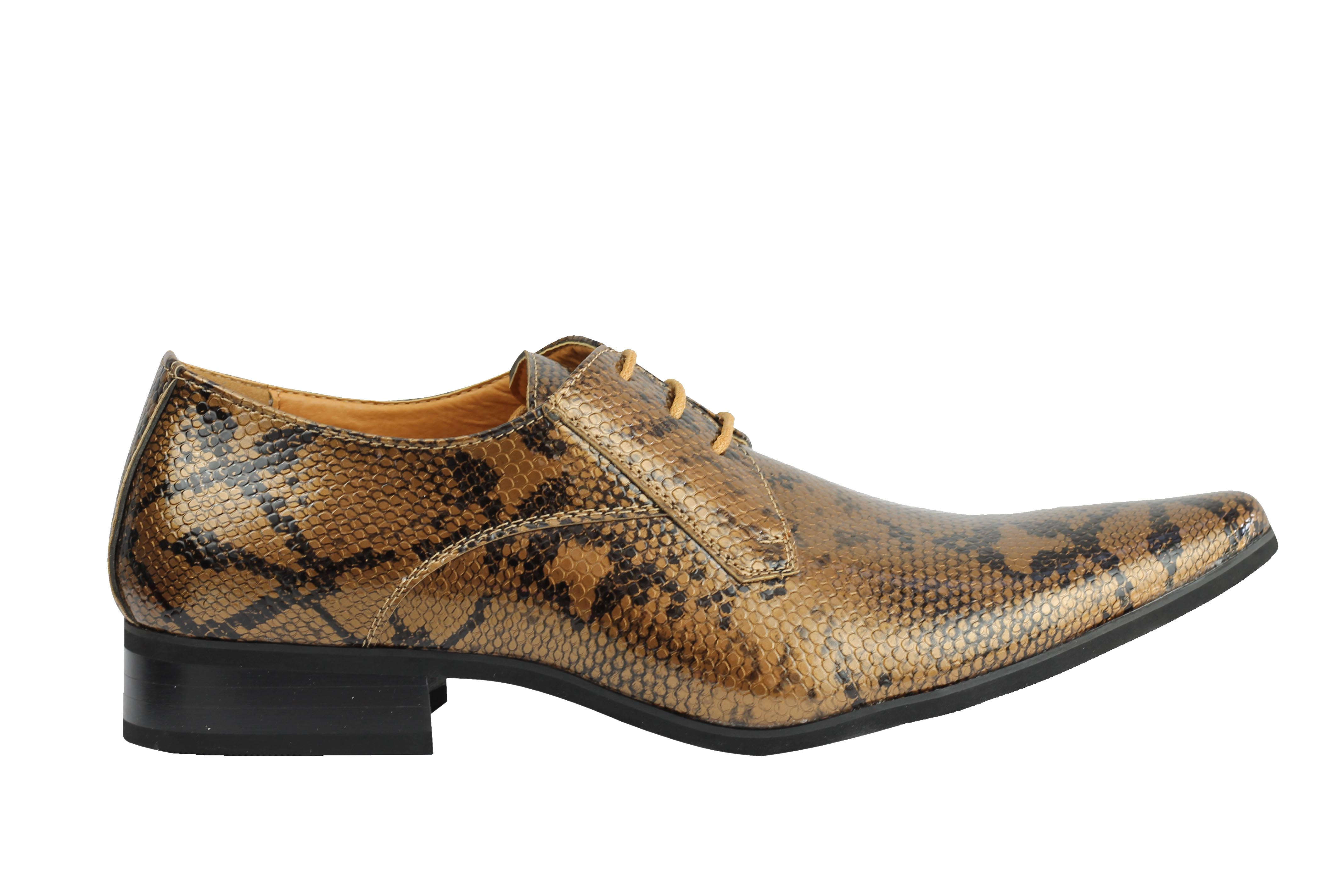 Mens-Leather-Lined-Snake-Skin-Print-Shiny-Patent-Leather-Smart-Party-Retro-Shoes thumbnail 10