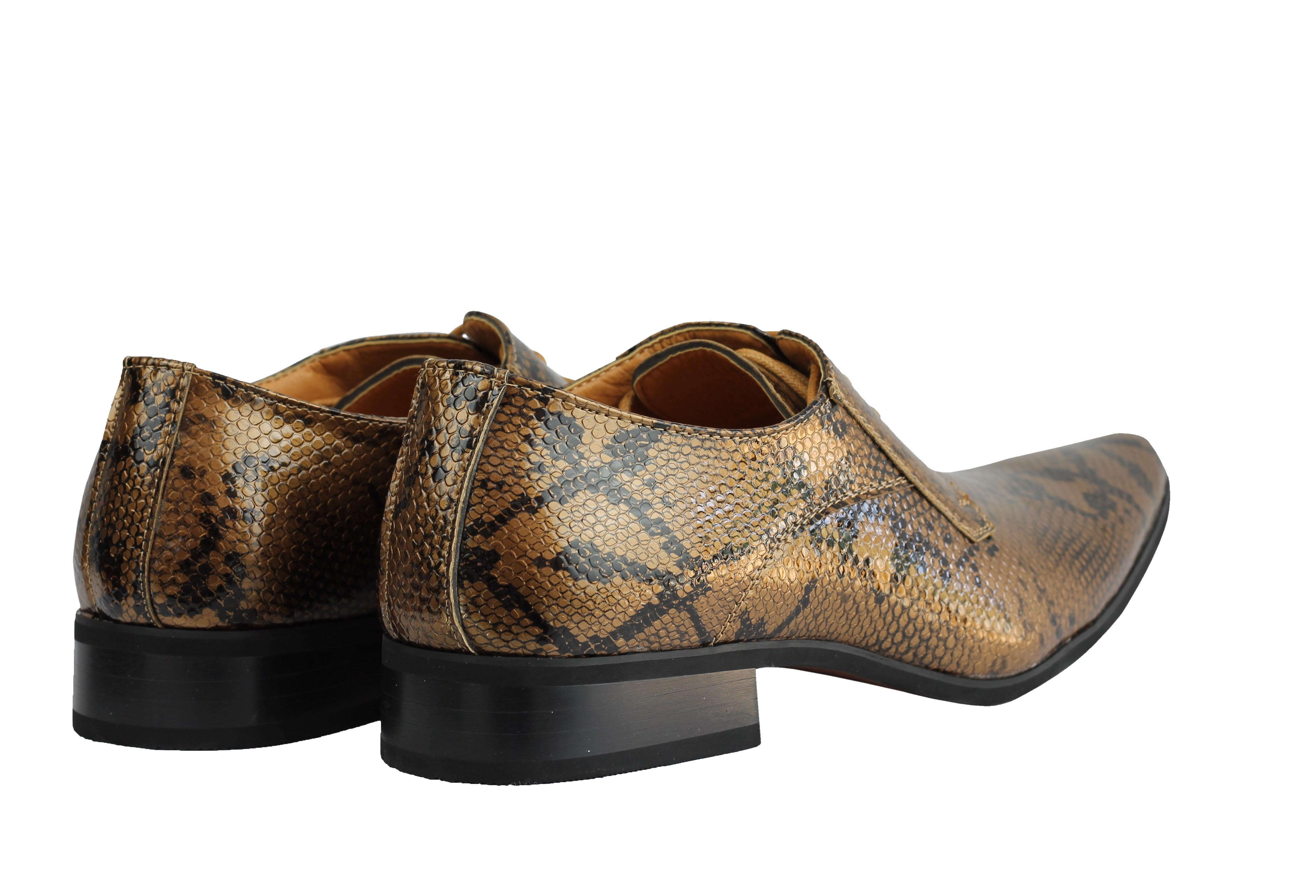 Mens-Leather-Lined-Snake-Skin-Print-Shiny-Patent-Leather-Smart-Party-Retro-Shoes thumbnail 12