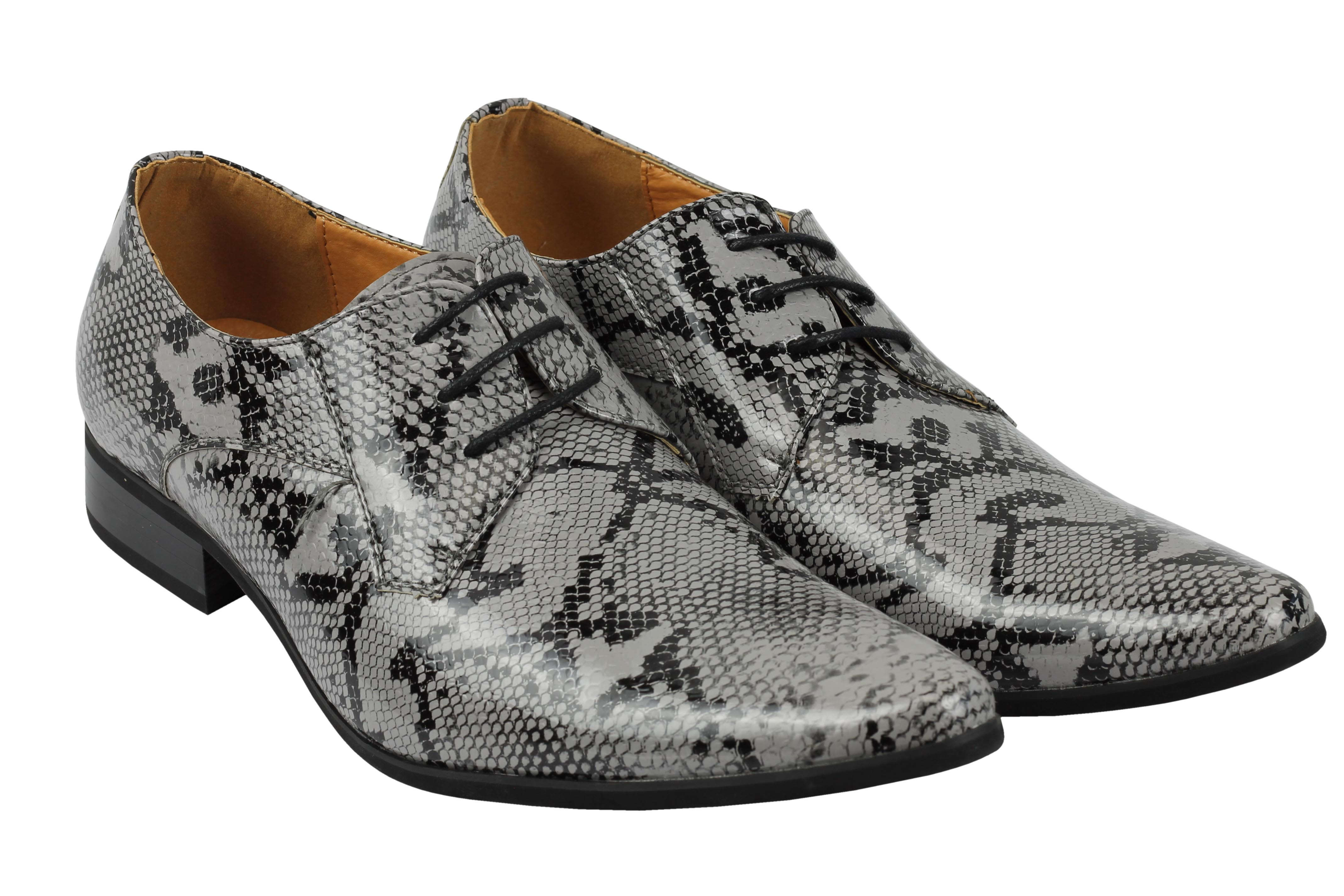 Mens-Leather-Lined-Snake-Skin-Print-Shiny-Patent-Leather-Smart-Party-Retro-Shoes thumbnail 15