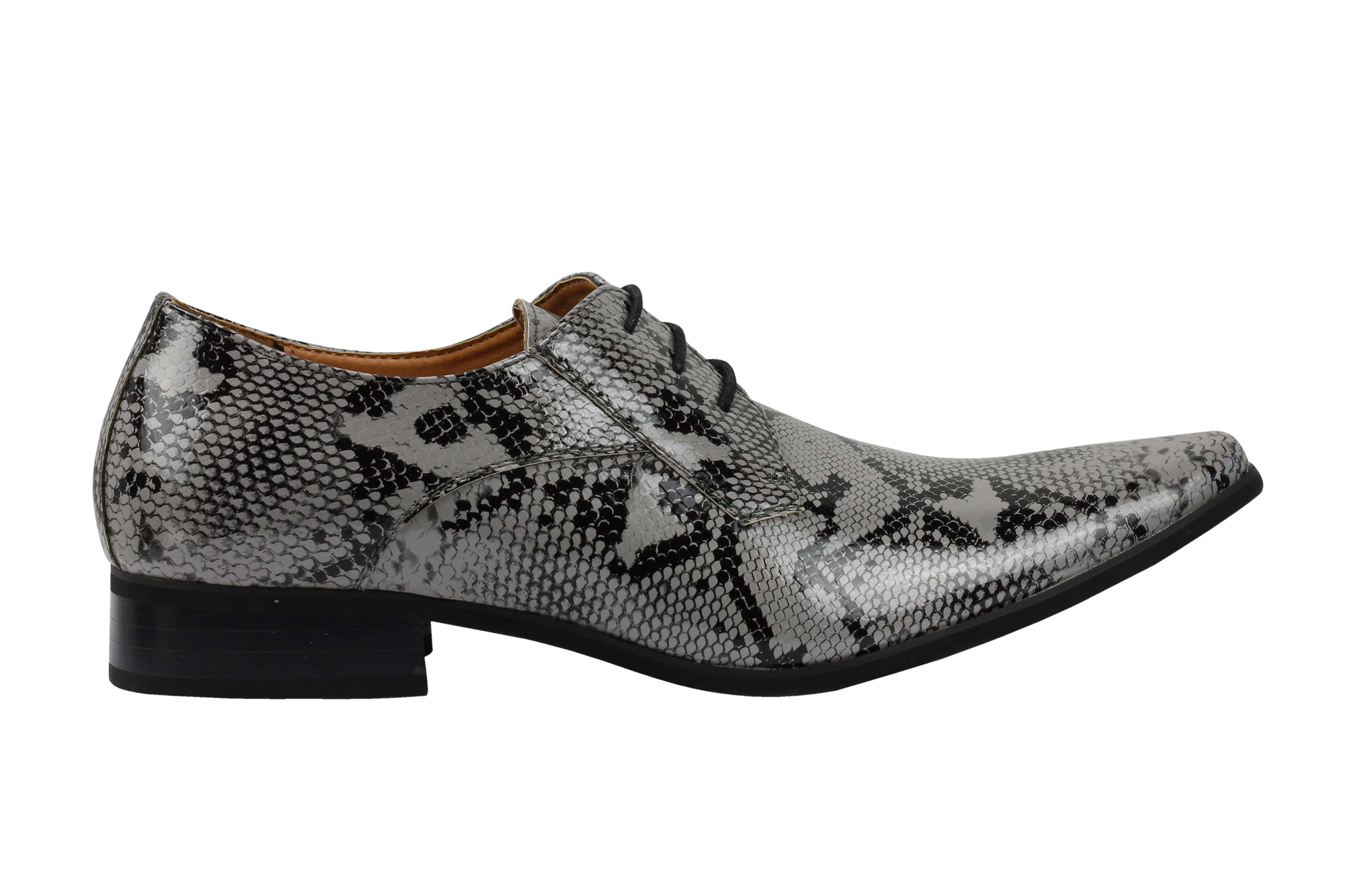 Mens-Leather-Lined-Snake-Skin-Print-Shiny-Patent-Leather-Smart-Party-Retro-Shoes thumbnail 16