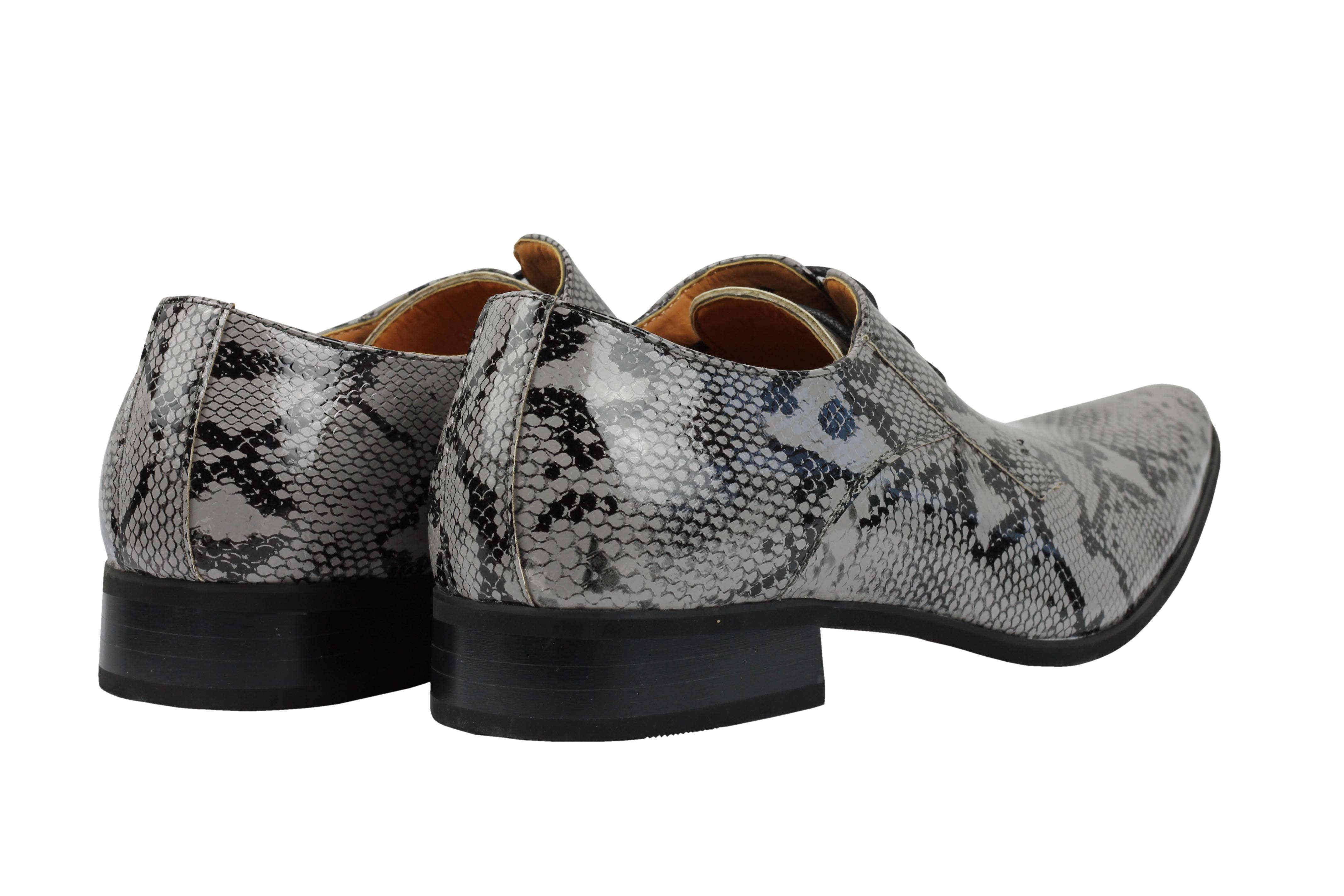Mens-Leather-Lined-Snake-Skin-Print-Shiny-Patent-Leather-Smart-Party-Retro-Shoes thumbnail 18