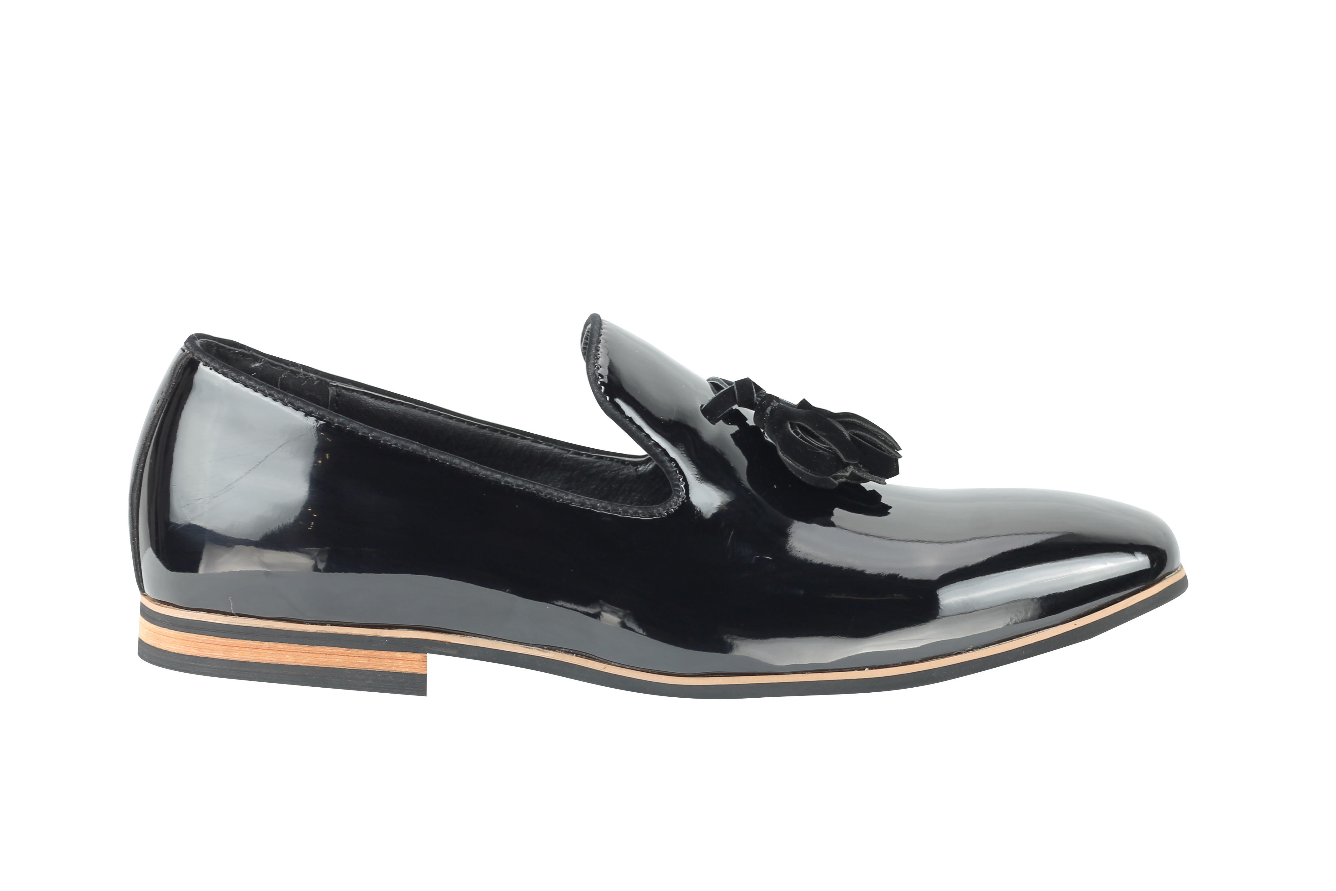 6a2f46ff99 Details about Mens Tassel Loafers Shiny Patent Leather Line Slip on Smart  Casual Driving Shoes