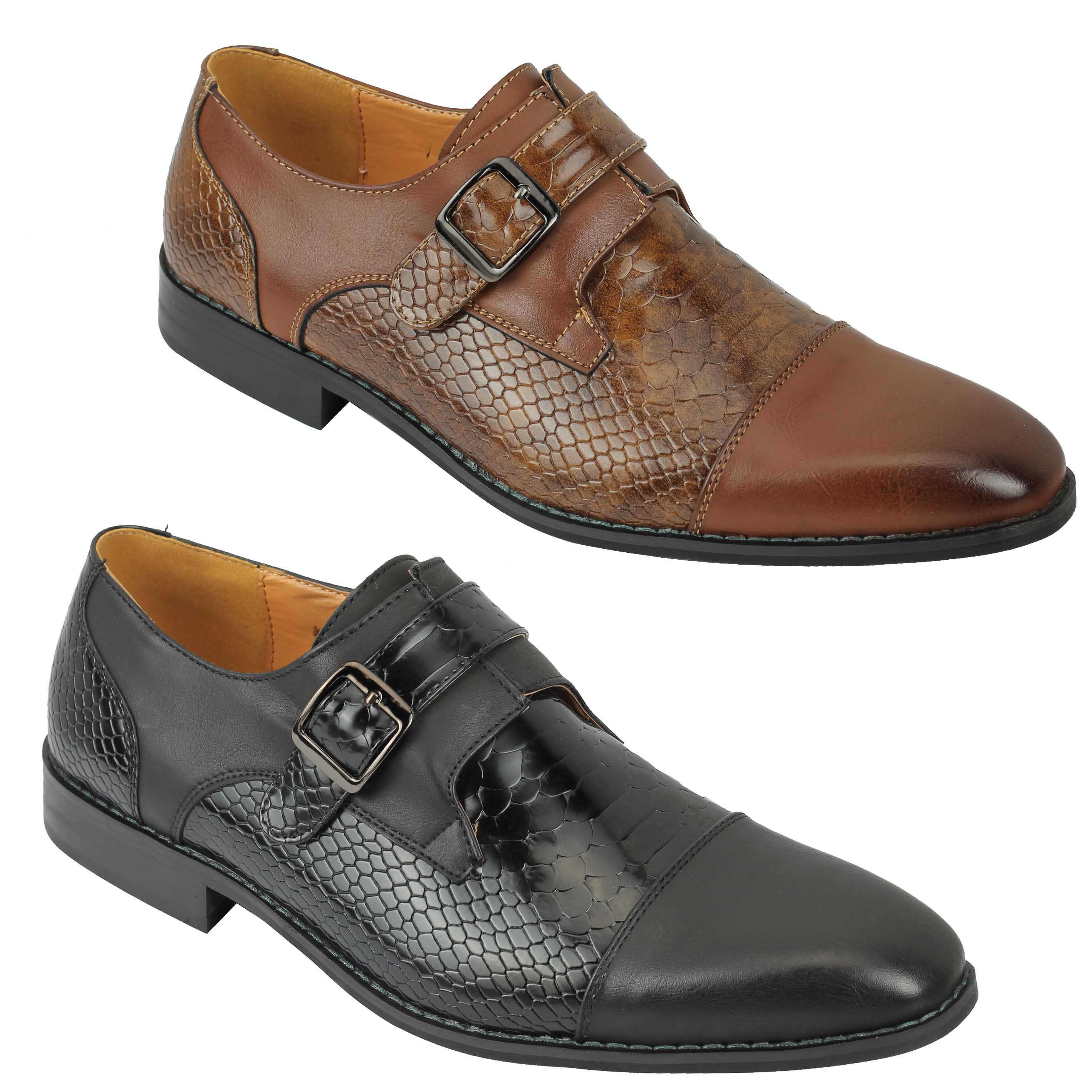 Mens Black Brown Shiny Leather Snakeskin Effect Vintage Smart Casual Wedding Party Slip on Shoes