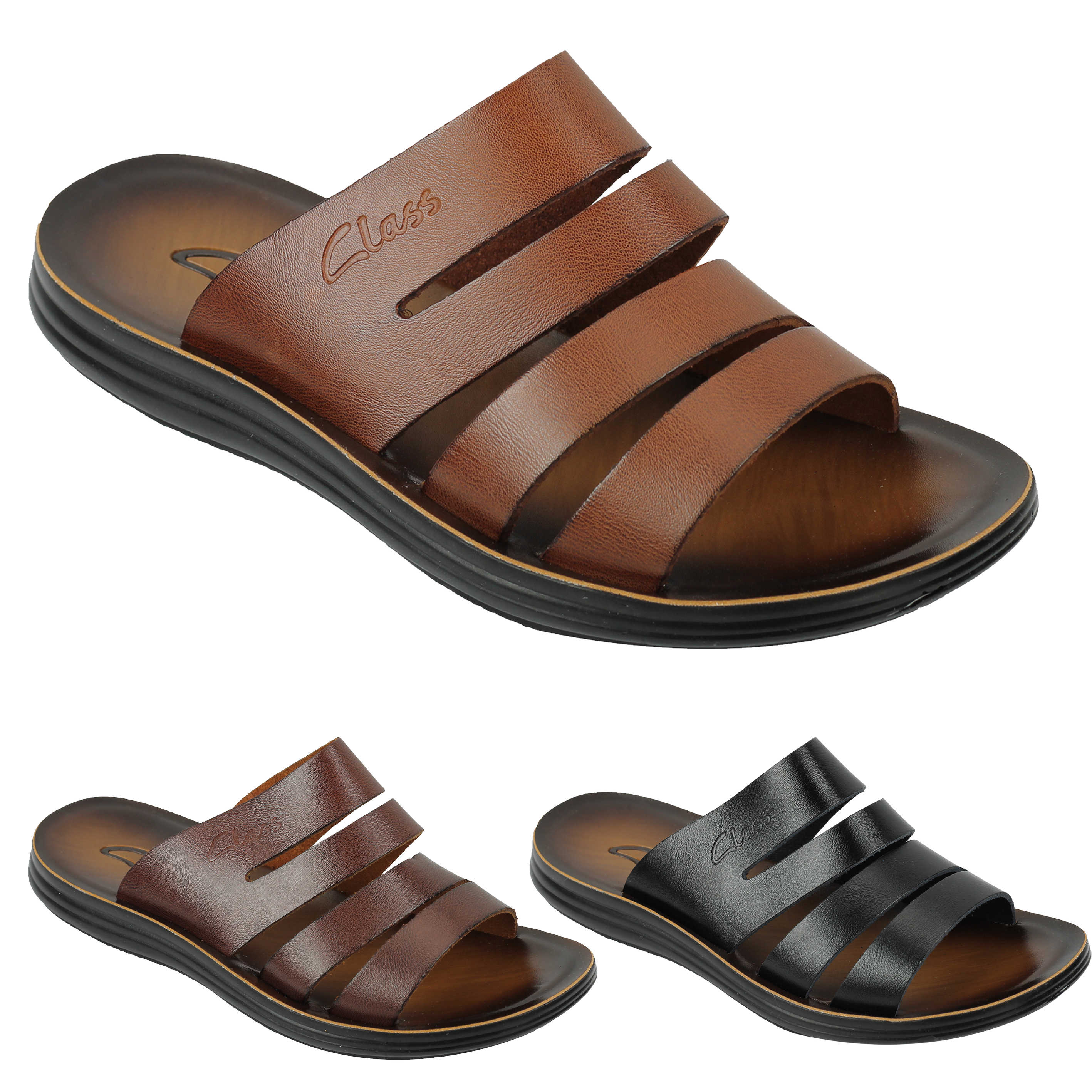 e4edea1c04cc80 New Mens Genuine Leather Sandals Beach Walking Jesus Slippers Slider Black  Brown
