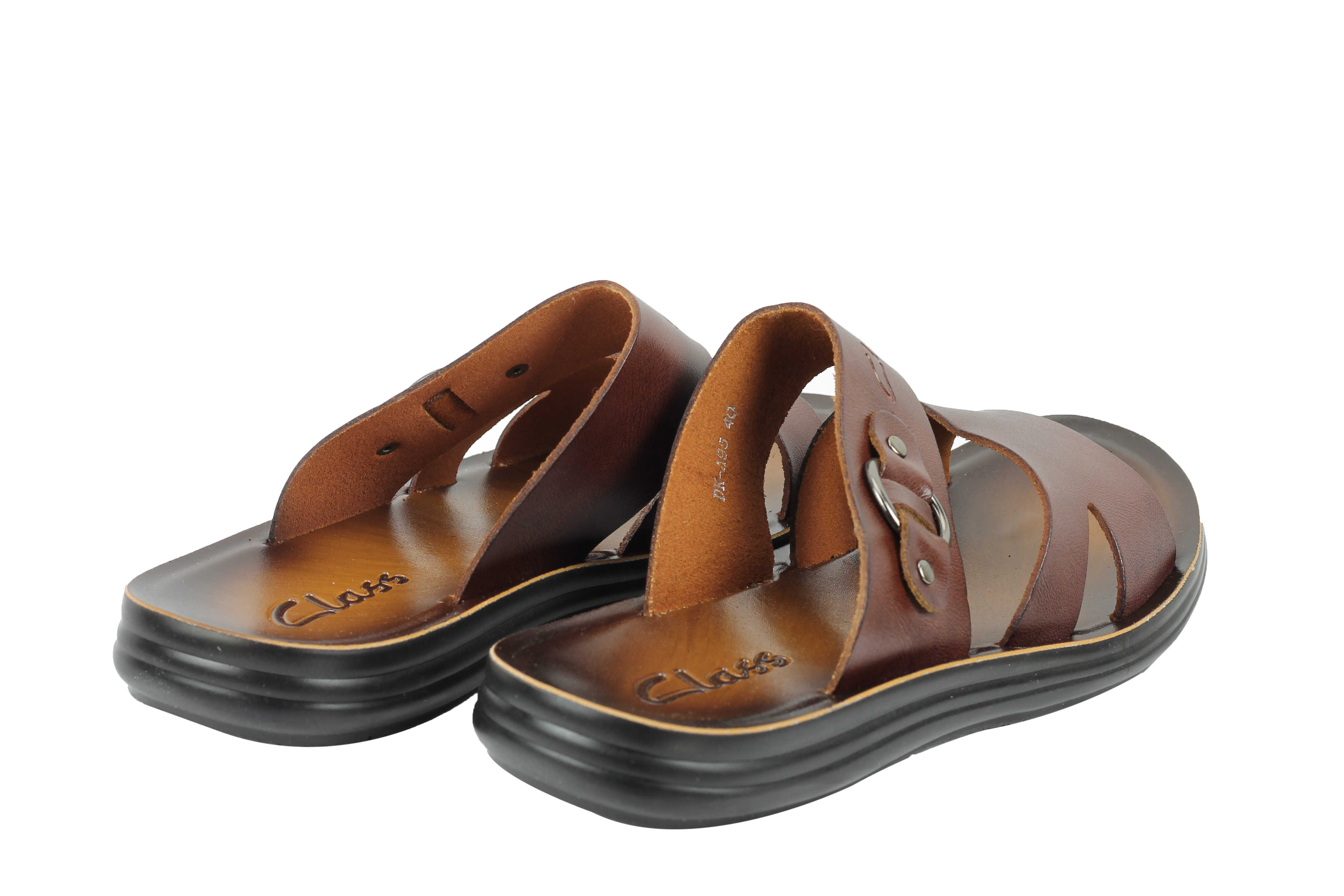 6f1b8c892d042d New Mens Real Polished Leather Sandals Beach Walking Slippers Slider ...