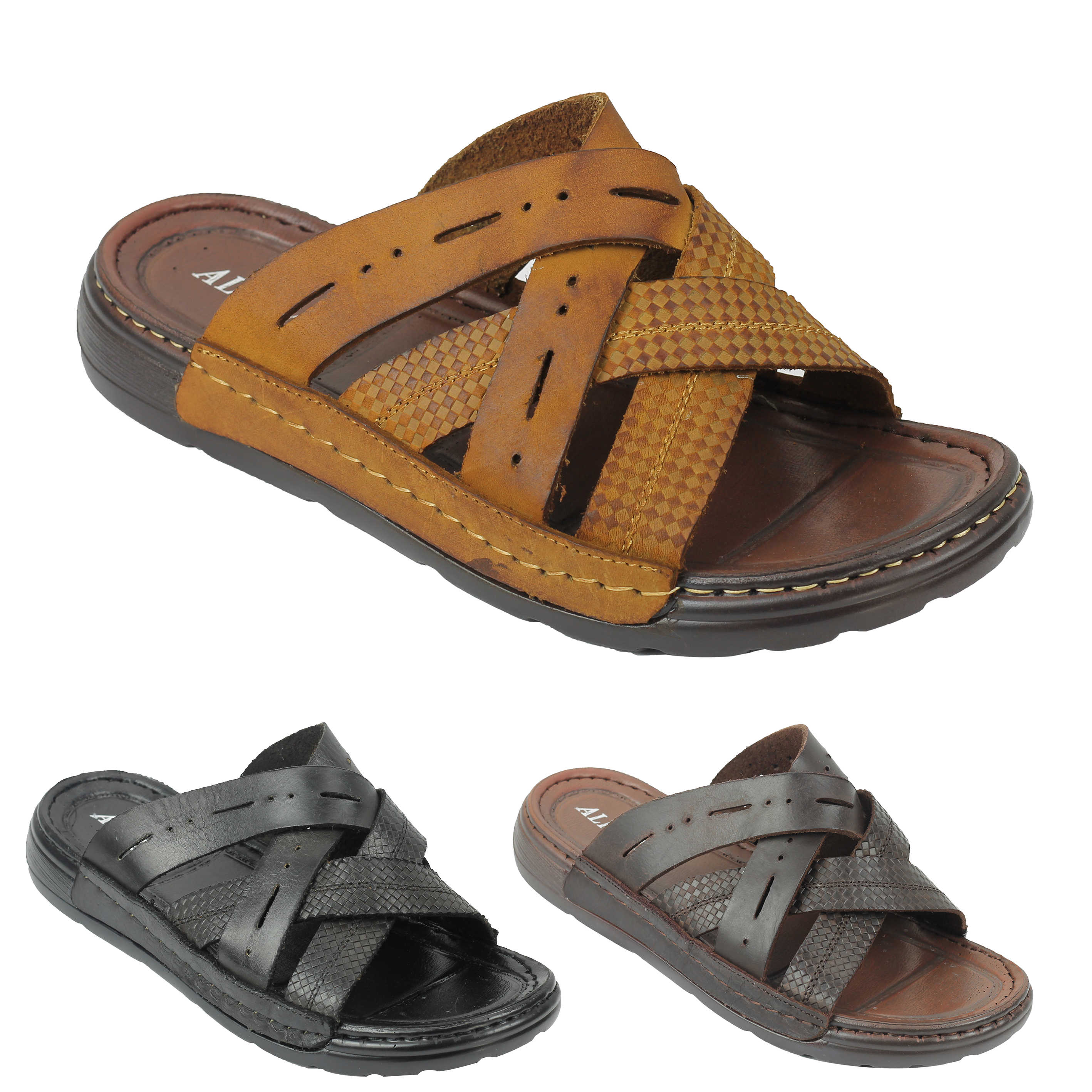 29961b43c98 Details about Mens Soft Real Leather Sandals Cross Straps Open Toe Beach  Slippers Black Brown
