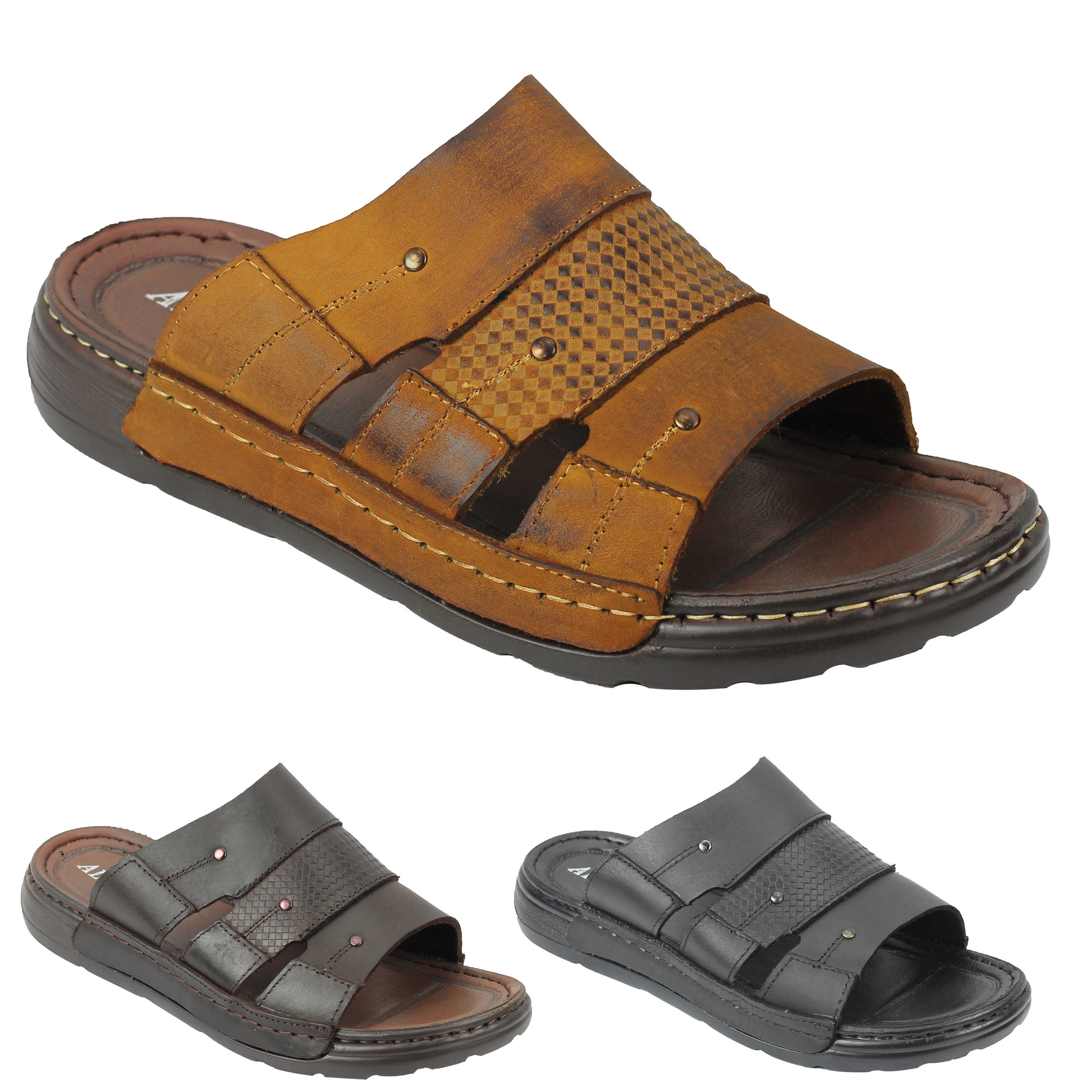7b8c99af57dd3e Details about New Mens Black Brown Soft Leather Sandals Walking Open Toe  Beach Mules Slippers