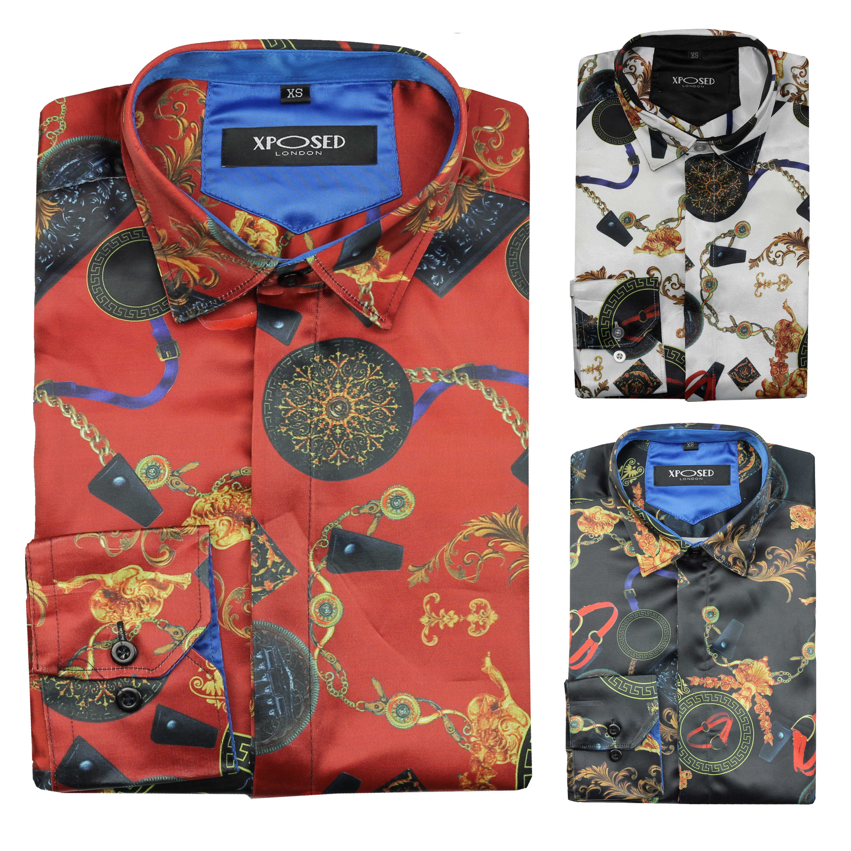 Mens Shirt Long Sleeve Designer Casual Stylish Fashion Party Threadbare