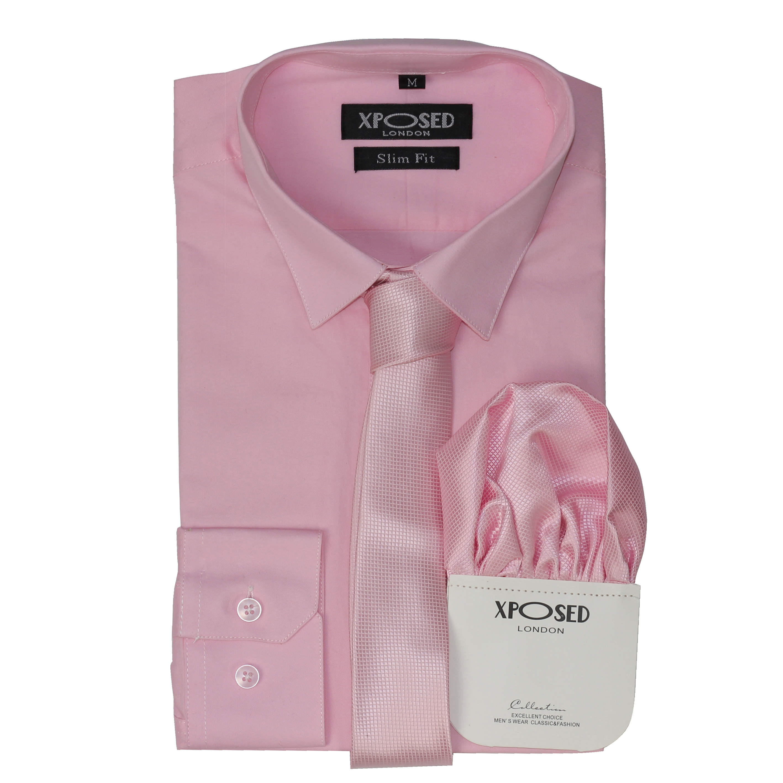 Mens Classic Cotton Slim Fit Dress Shirt Tie Hanky Gift Set Smart