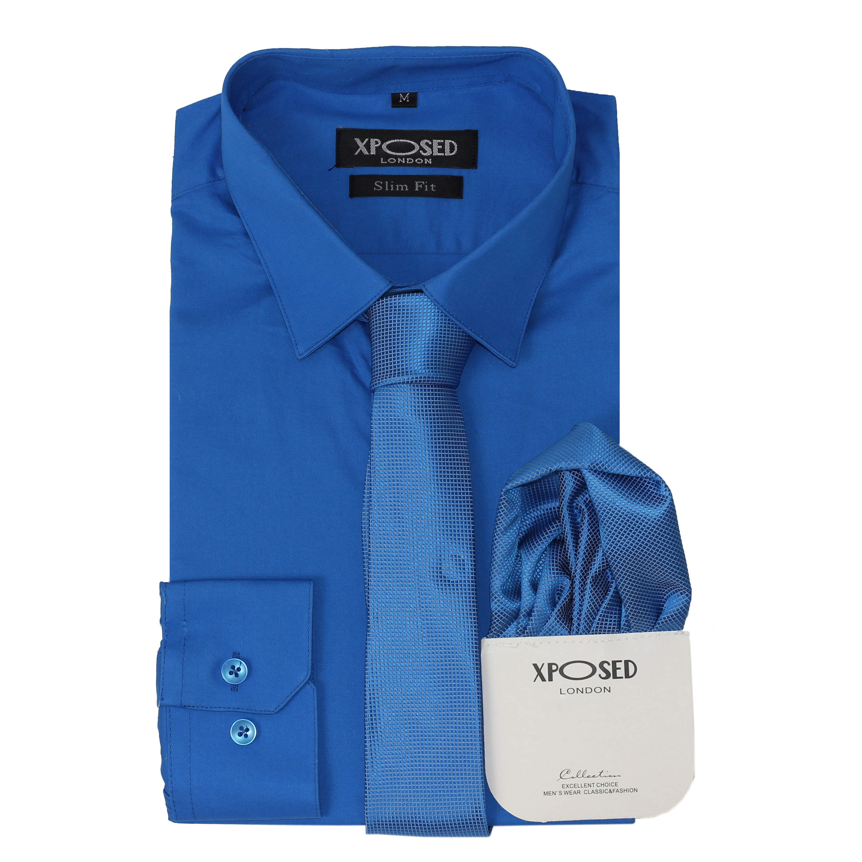 ee7c06b2660 Mens Classic Cotton Slim Fit Dress Shirt Tie Hanky Gift Set Smart Casual  Work 5xl Royal Blue. About this product. Picture 1 of 5  Picture 2 of 5   Picture 3 ...