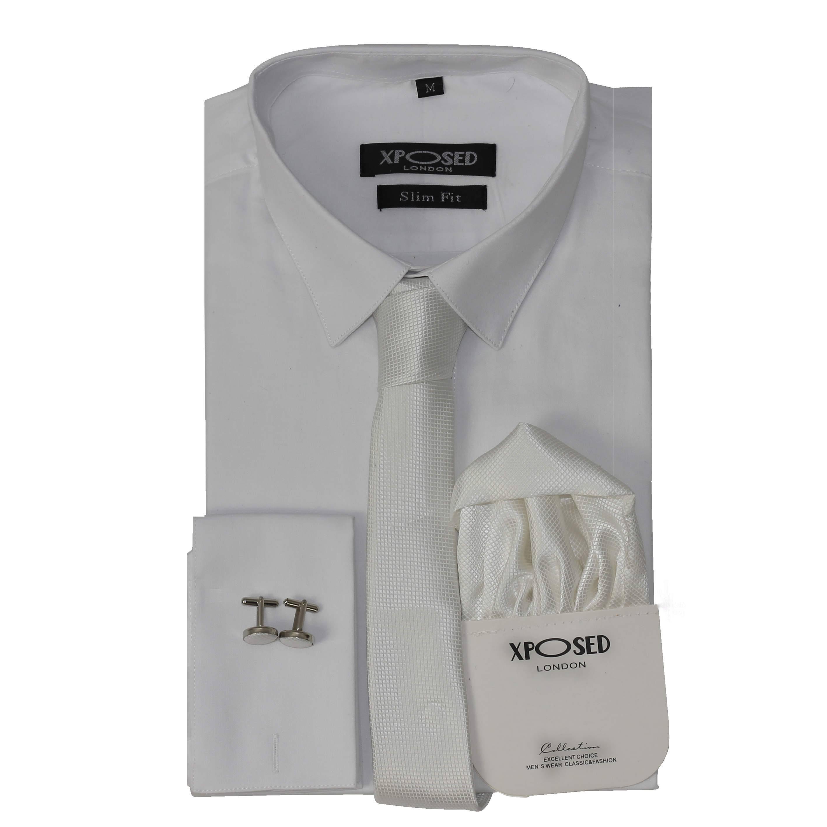 Mens classic cotton slim fit shirt tie hanky cufflinks for Casual shirt and tie