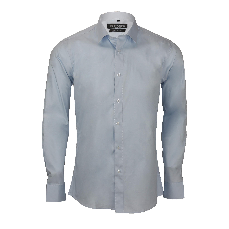 Mens classic cotton slim fit shirt tie hanky cufflinks for Mens dress shirts cufflinks