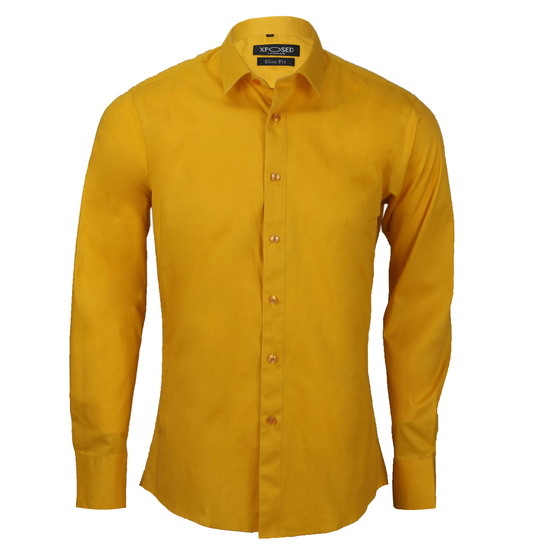Mens classic cotton slim fit shirt tie hanky cufflinks for Mens slim fit formal shirts uk