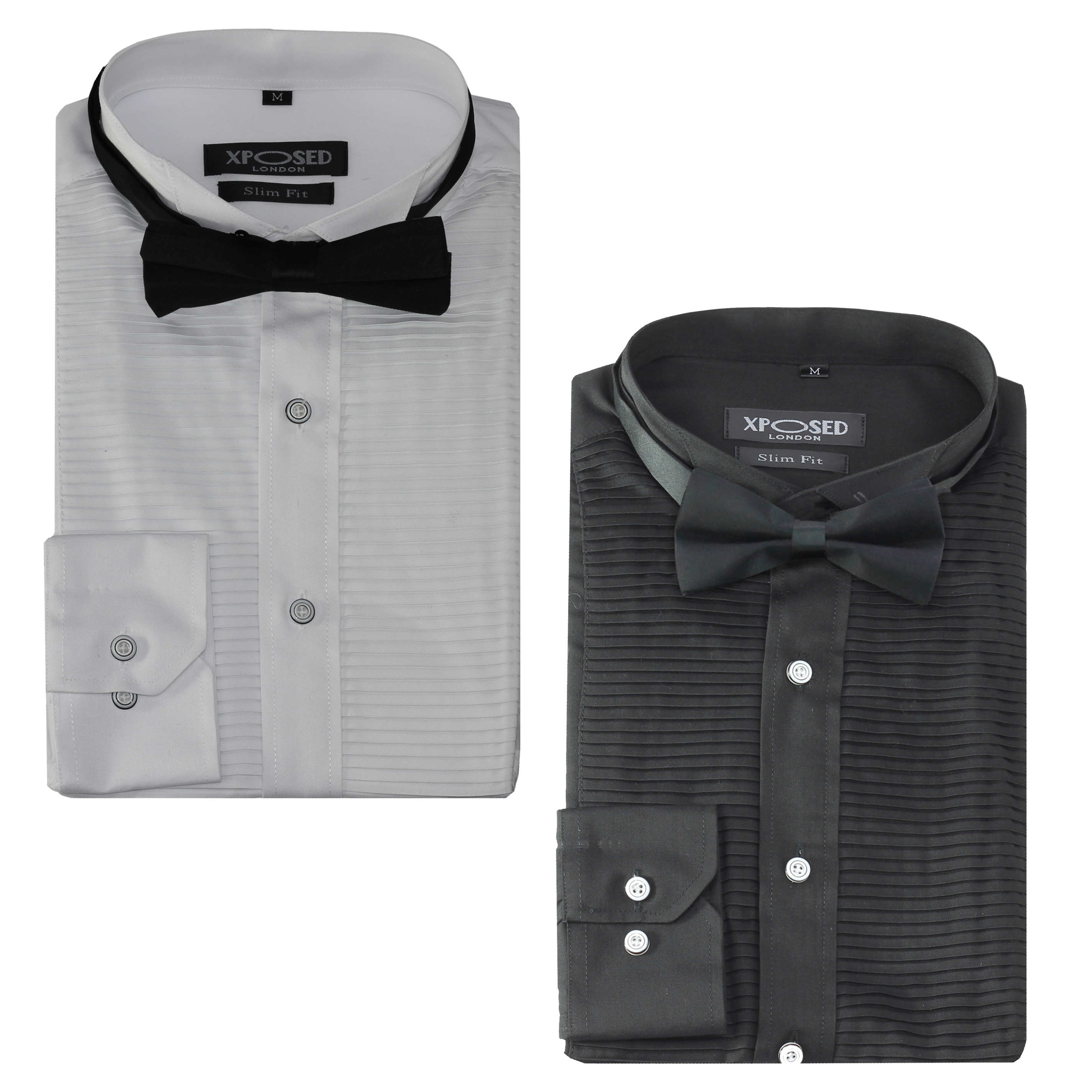 Details about Mens Formal Dress Tuxedo Bow Tie Shirt Slim Fit Pleated Wedding Prom Black White