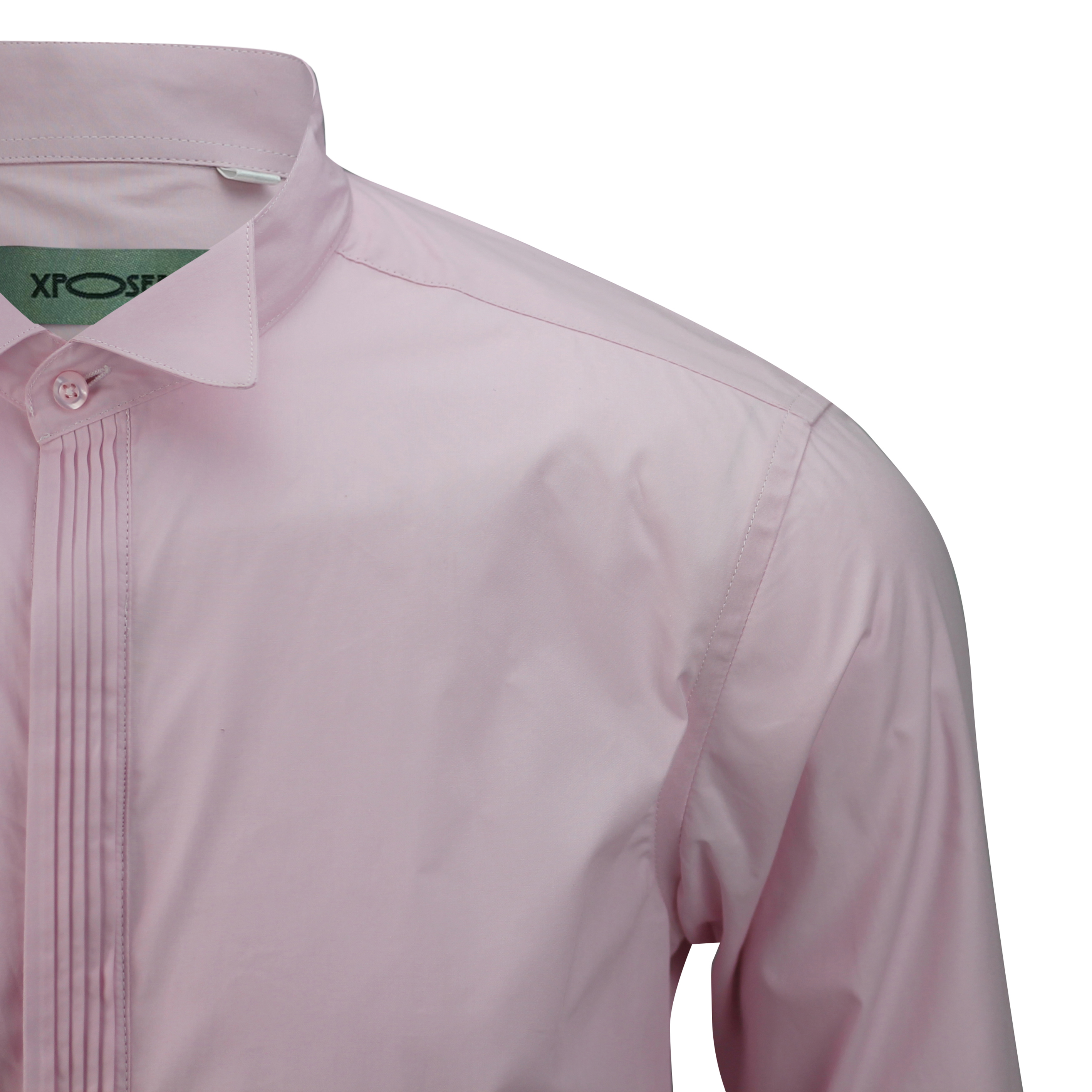 Mens Pink Wing Collar Tux Bowtie Tailored Fit Dress Shirt Smart