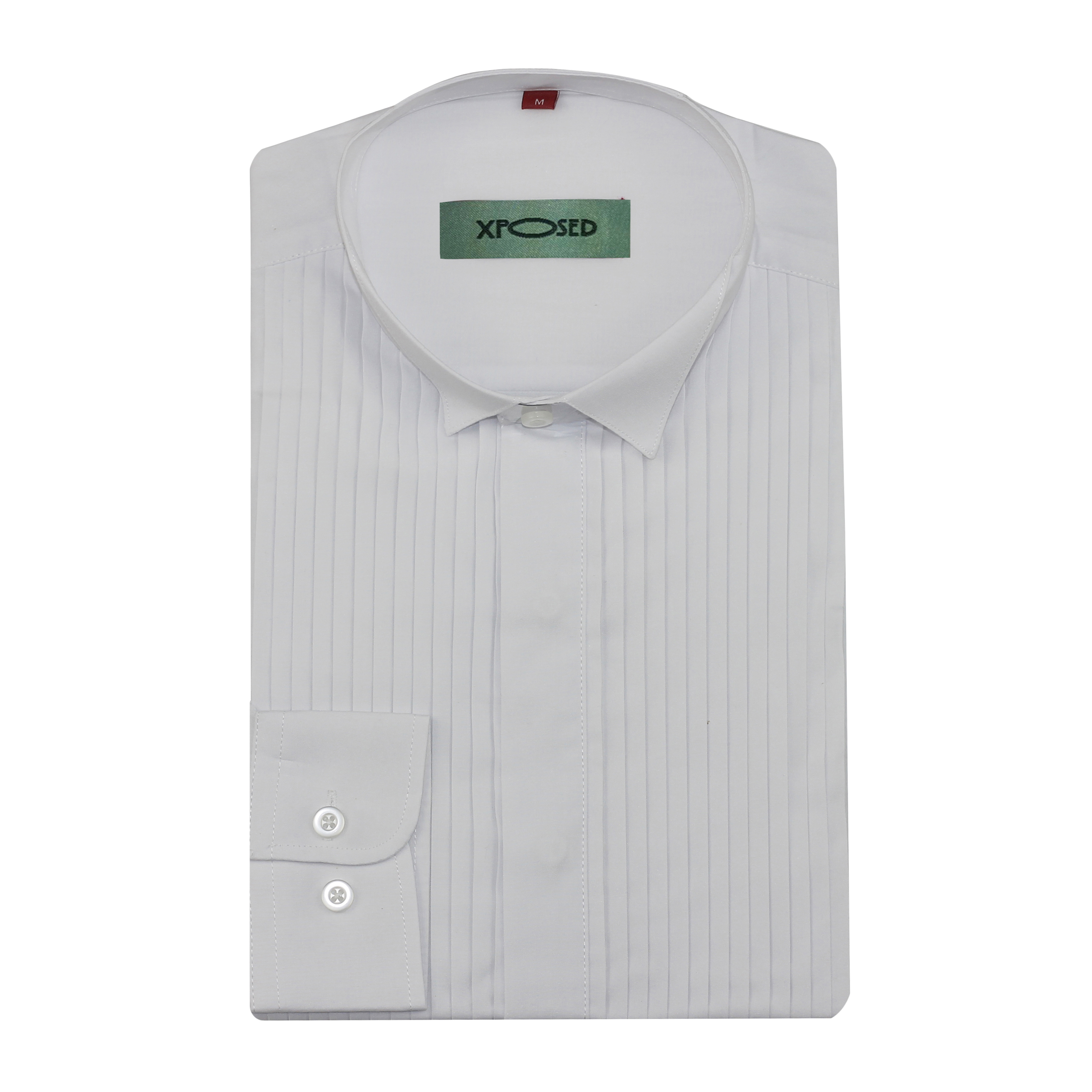 Men Gents White Wing Collar Pleated Front Evening Wedding Suit Dress Shirt Top