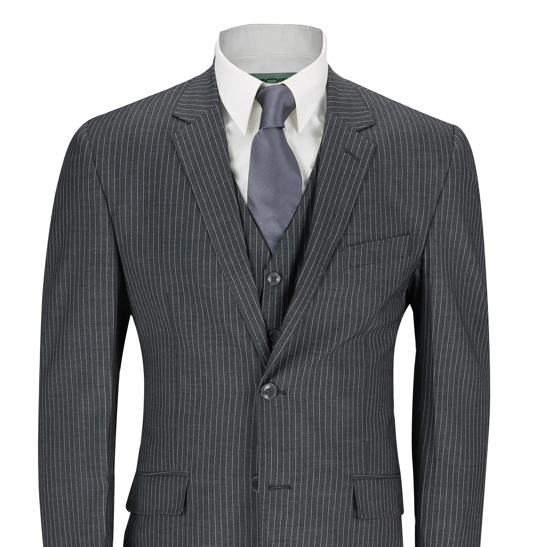 a6d32158750e Details about Mens 3 Piece Suit White Pinstripe on Dark Grey Tailored Fit  Formal Vintage Suit