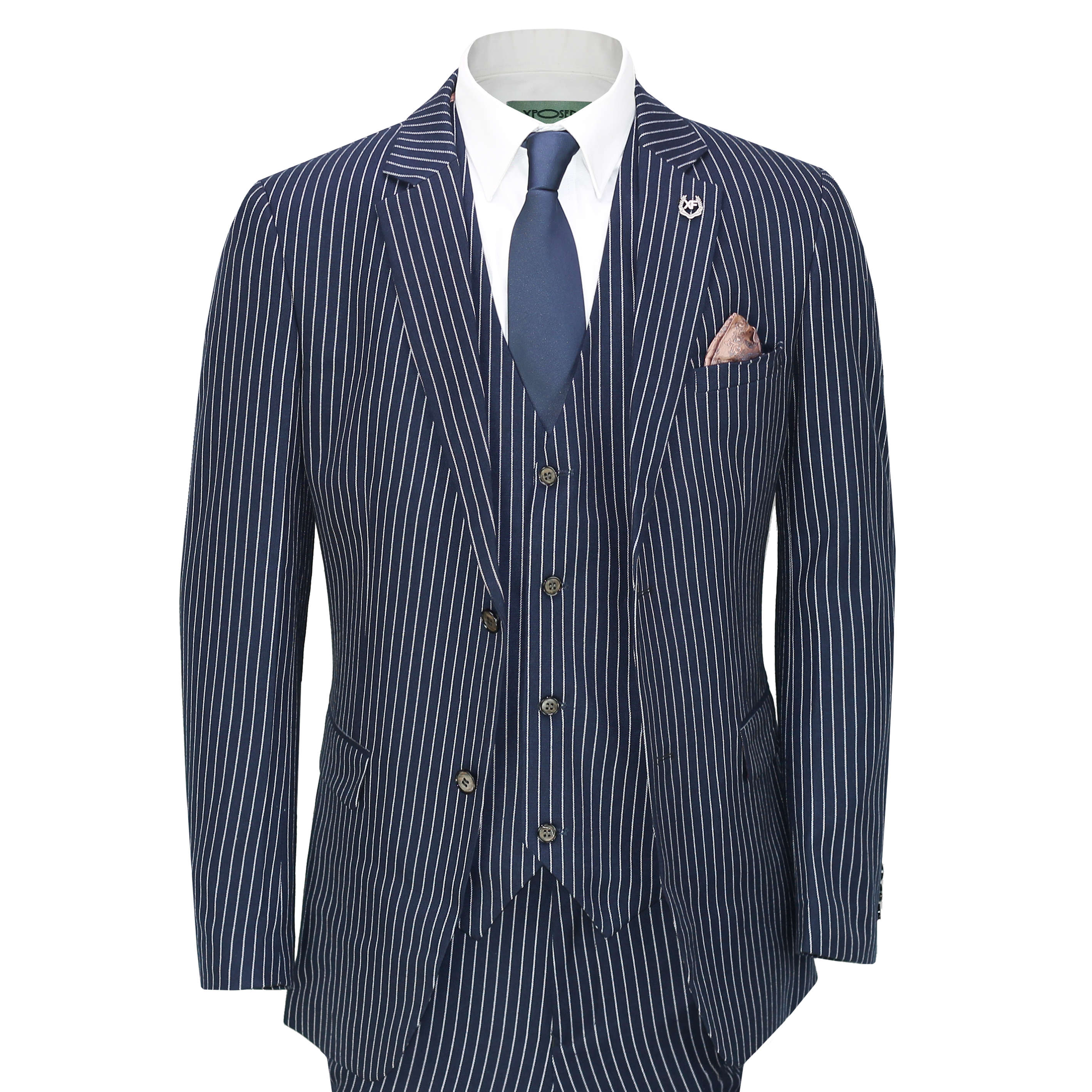 Men/'s 3 Piece Pin Stripe 1920/'s Gatsby Peaky Blinders Business Suit Navy Blue