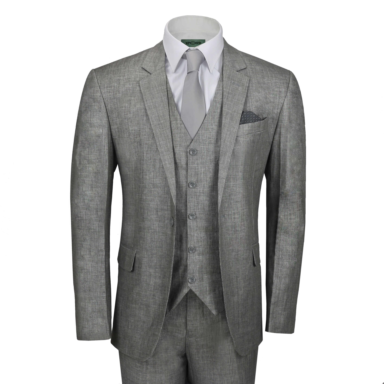 c6b7b2d126d5 Details about Mens 3 Piece Linen Cotton Suit Ash Grey Tailored Fit Jacket  Waistcoat Trouser
