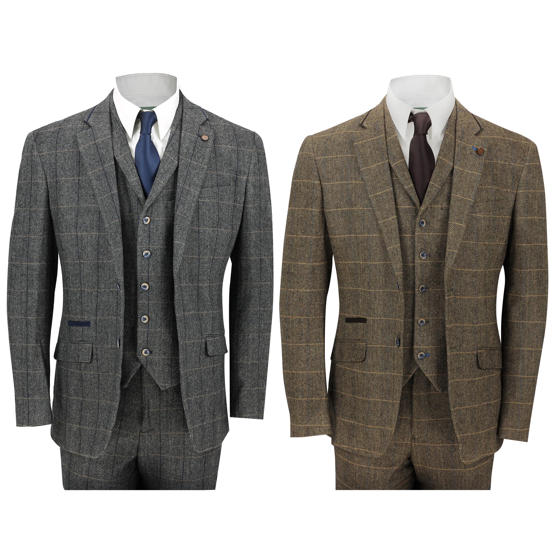 6b6b3b8286f1 Details about Mens 3 Piece Tweed Suit Vintage Herringbone Check Retro Slim  Fit Tan Brown, Grey
