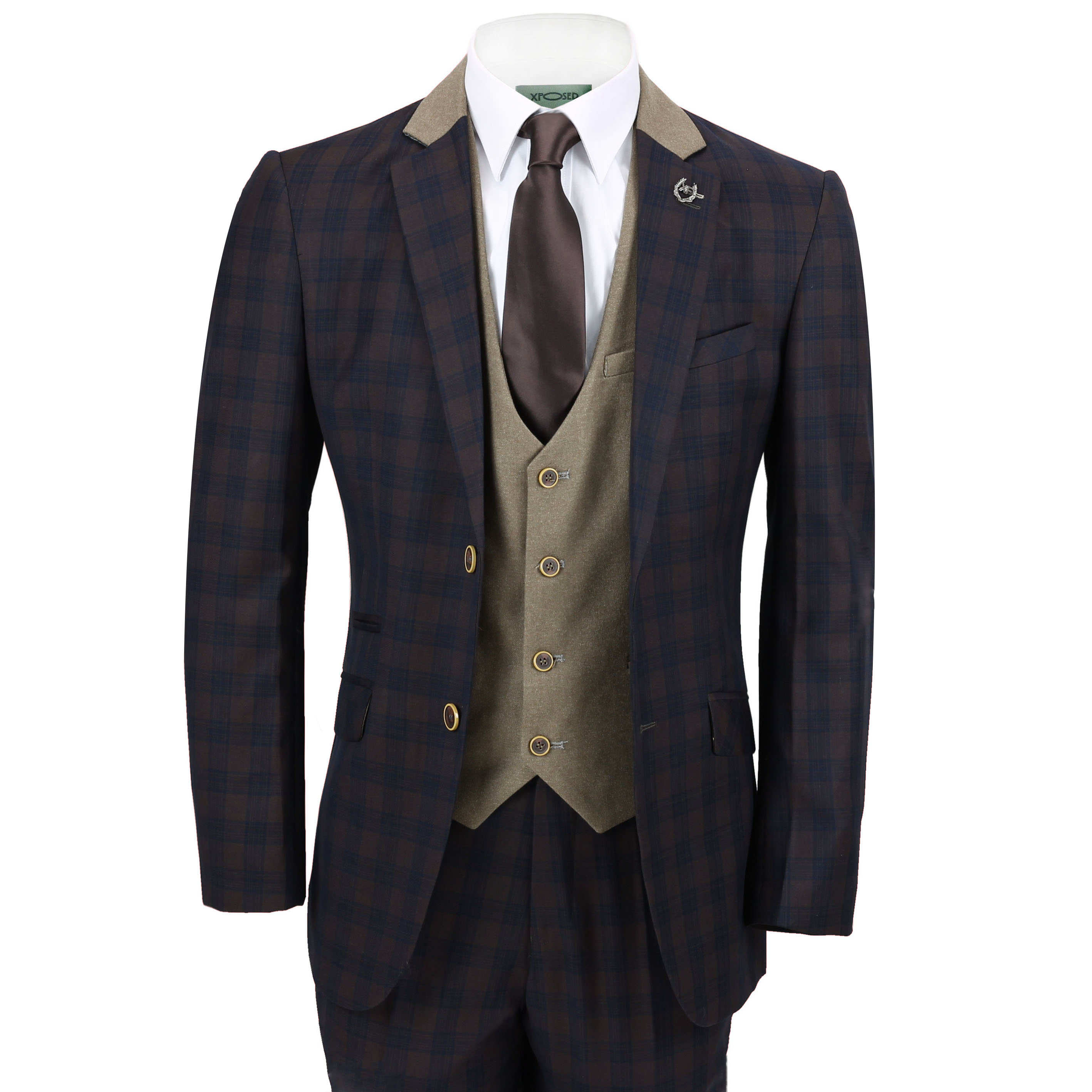 6232a05c7dfe Vintage Tailored Fit Mens 3 Piece Suit Navy Check on Brown Contrasting  Waistcoat