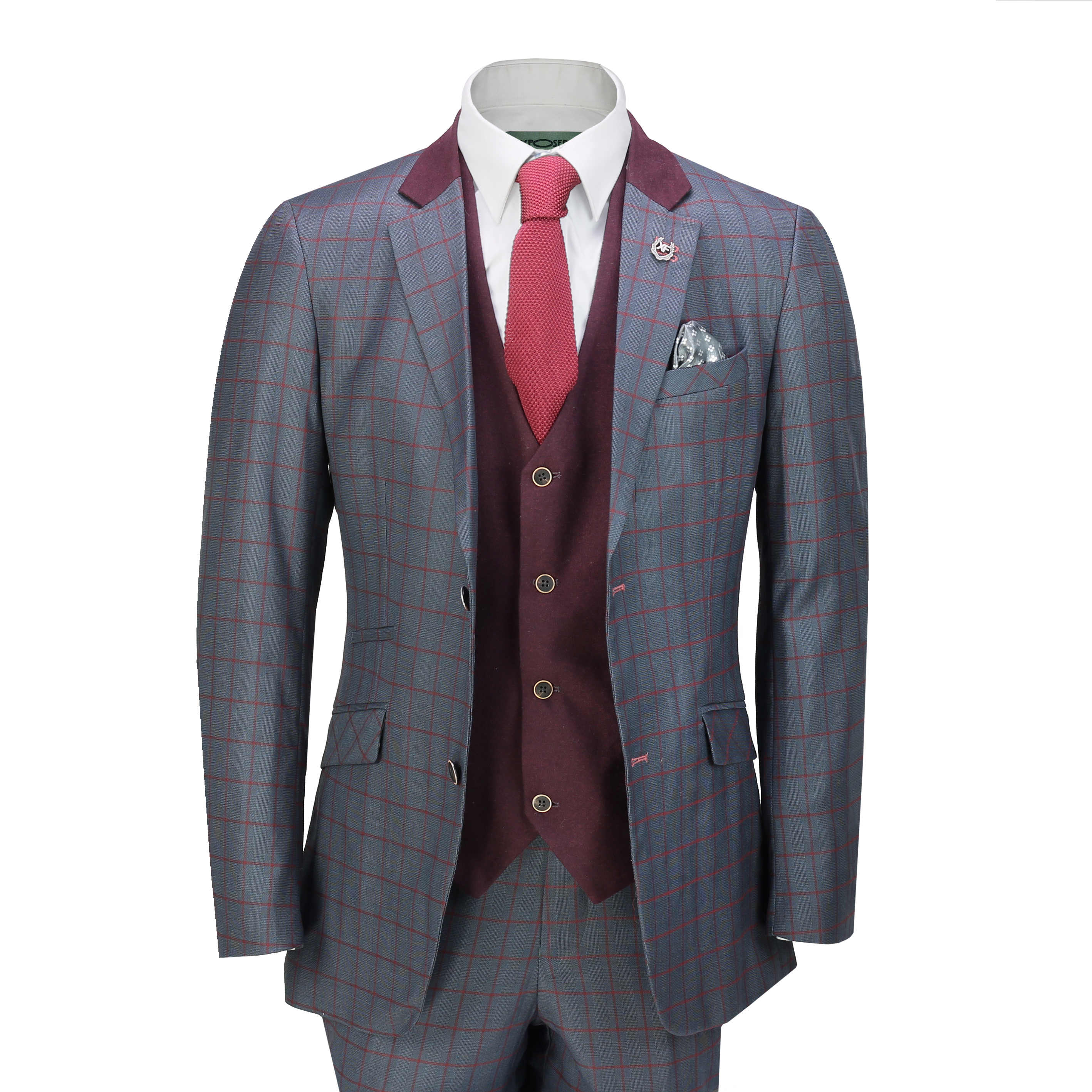 Xposed Mens 3 Piece Double Breasted Suit Retro Royal Blue Check Tailored Fit Blazer Trousers Waistcoat