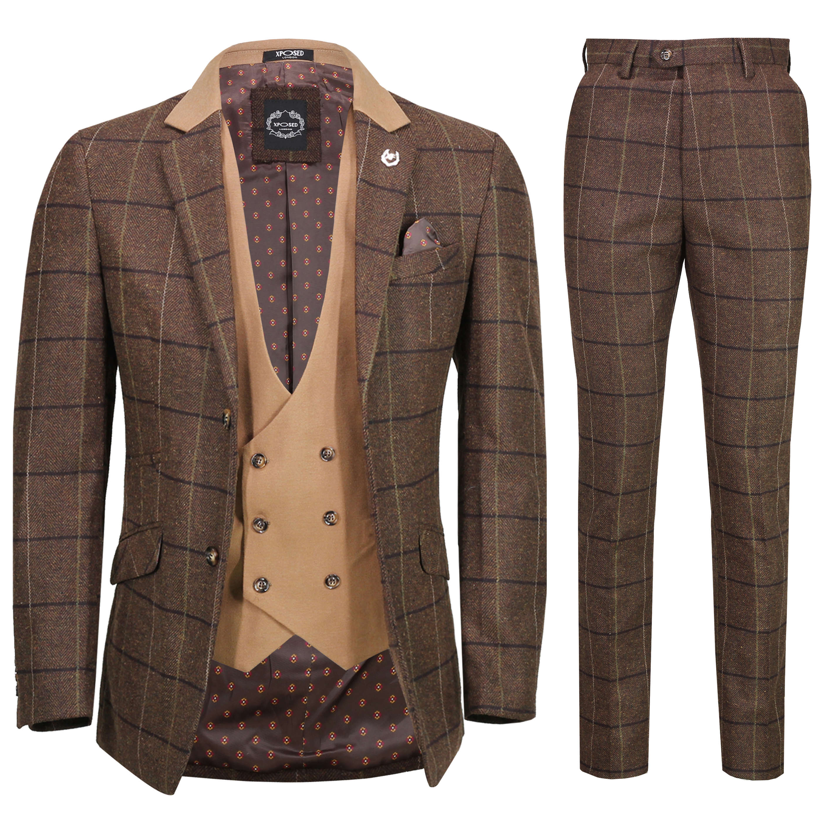 Mens Classic 3 Piece Tweed Suit Herringbone Check Smart Retro Tailored Fit Suit Ebay