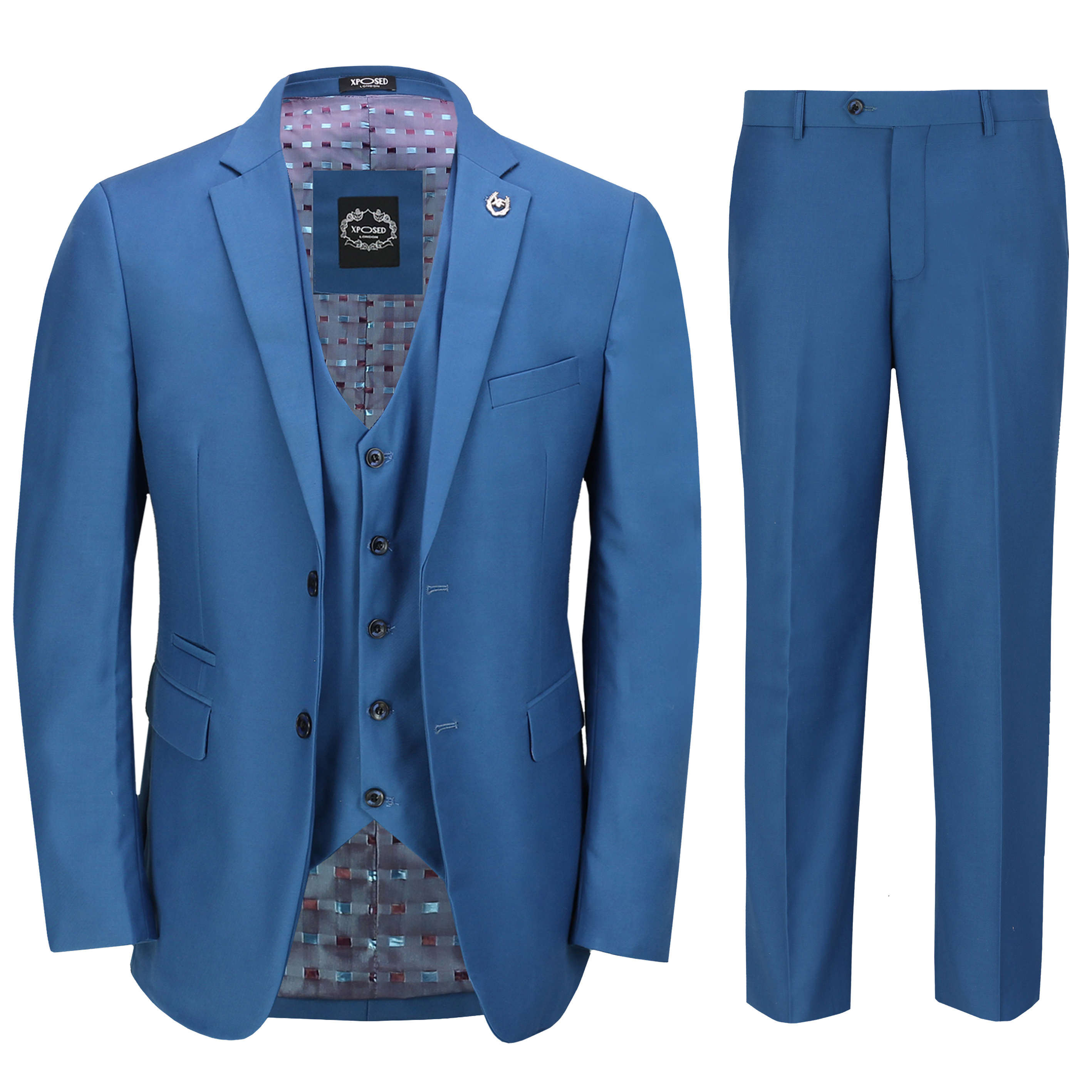 Mens 3 Piece Business Suit Blue Smart Casual Classic Tailored Fit Office Formal