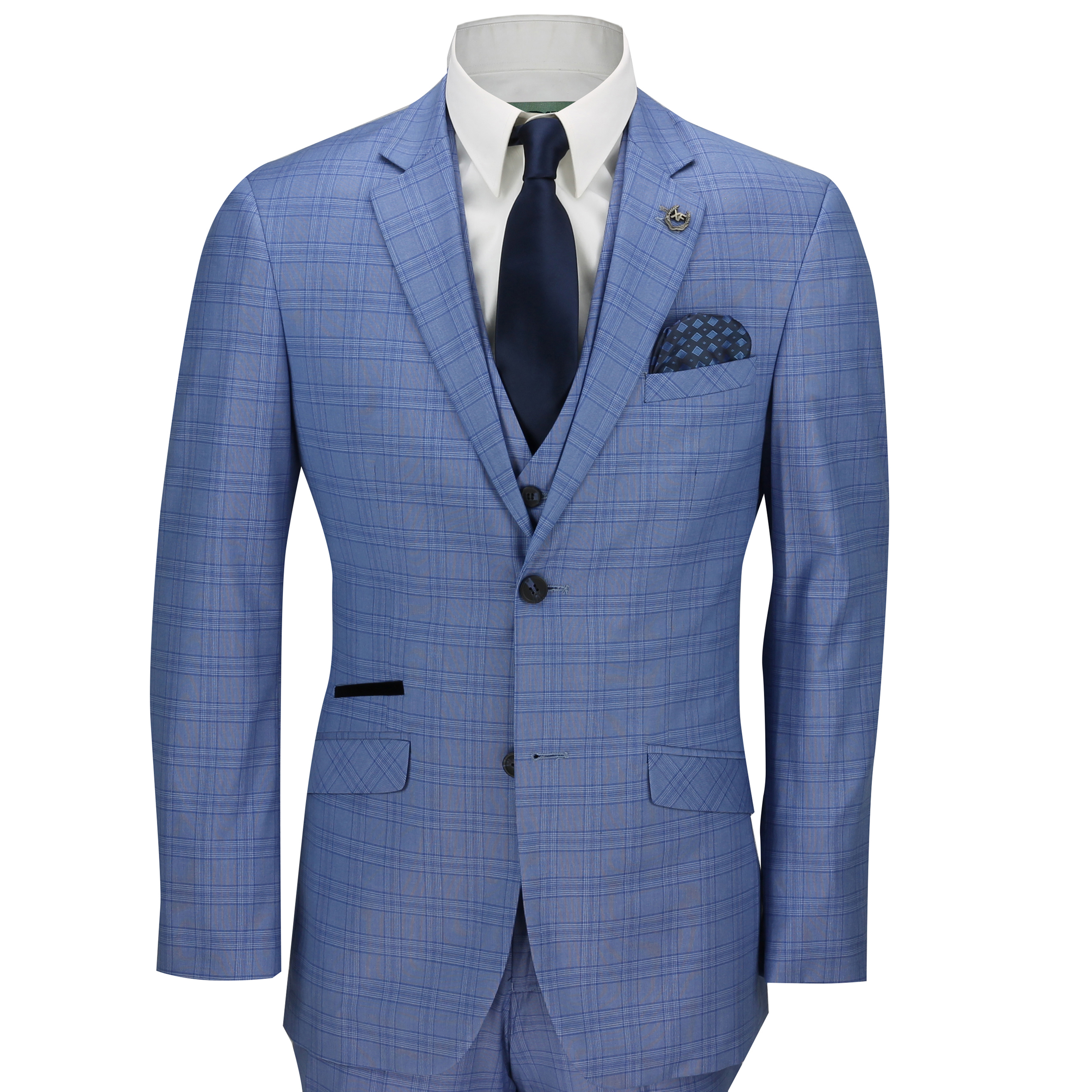 347dab02663 Mens 3 Piece Tailored Fit Blue Prince of Wales Check Smart Vintage Retro  Suit