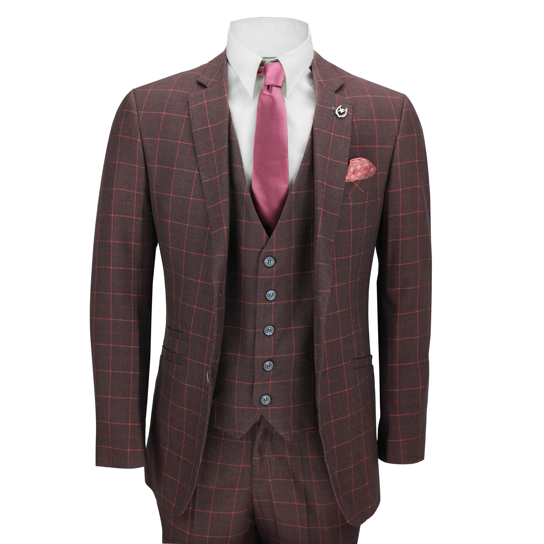 376cabc86f3a Mens 3 Piece Suit Maroon Grid Check Vintage Retro Smart Tailored Fit UK Size