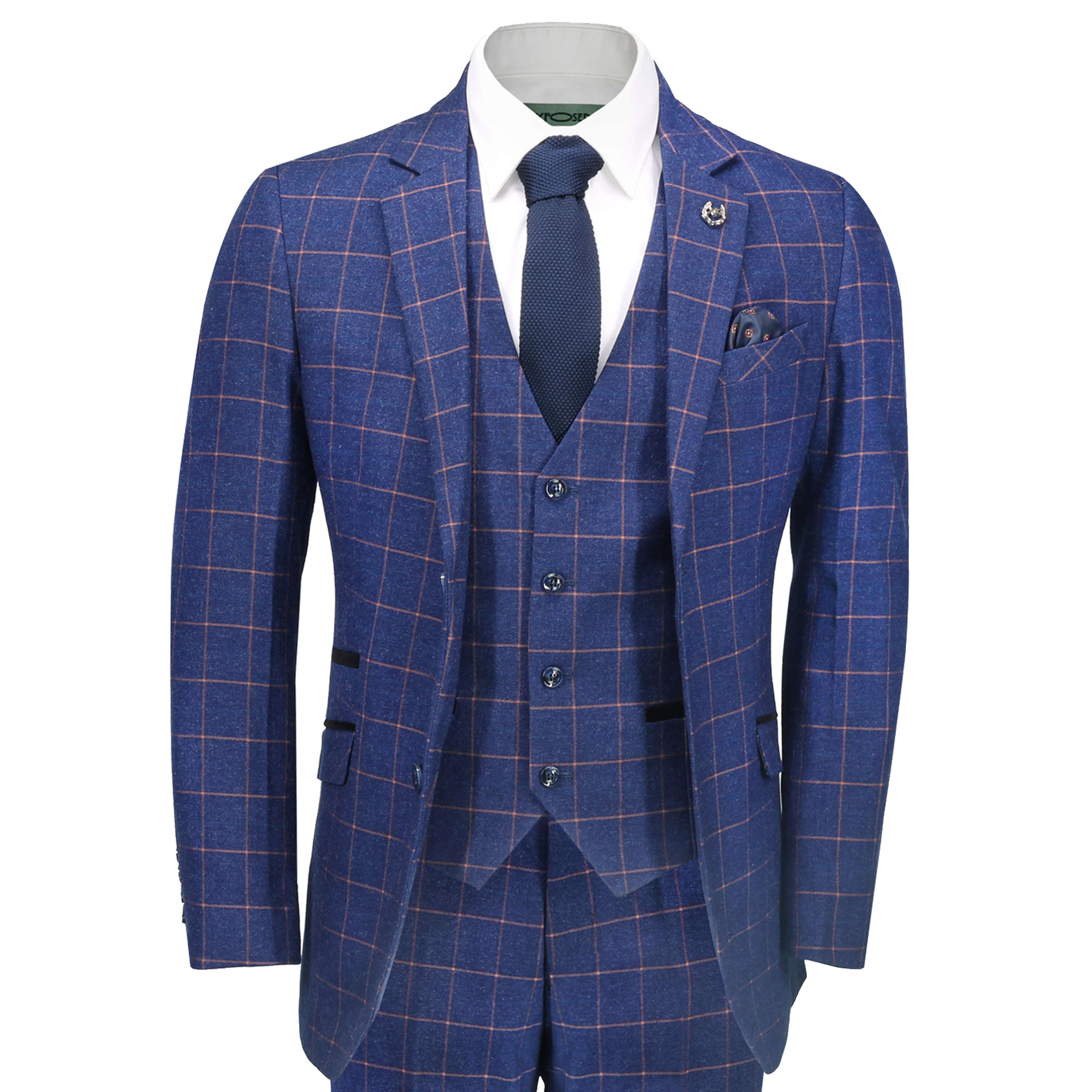 ee8ff60b496 Details about New Mens 3 Piece Blue Orange Window Check Retro Smart  Tailored Fit Vintage Suit