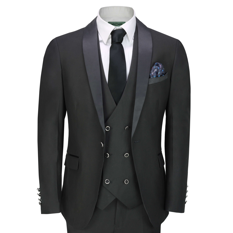 77407280 Mens Black 3 Piece Tuxedo Suit Wedding Formal Tailored Fit Dinner Jacket  Blaze