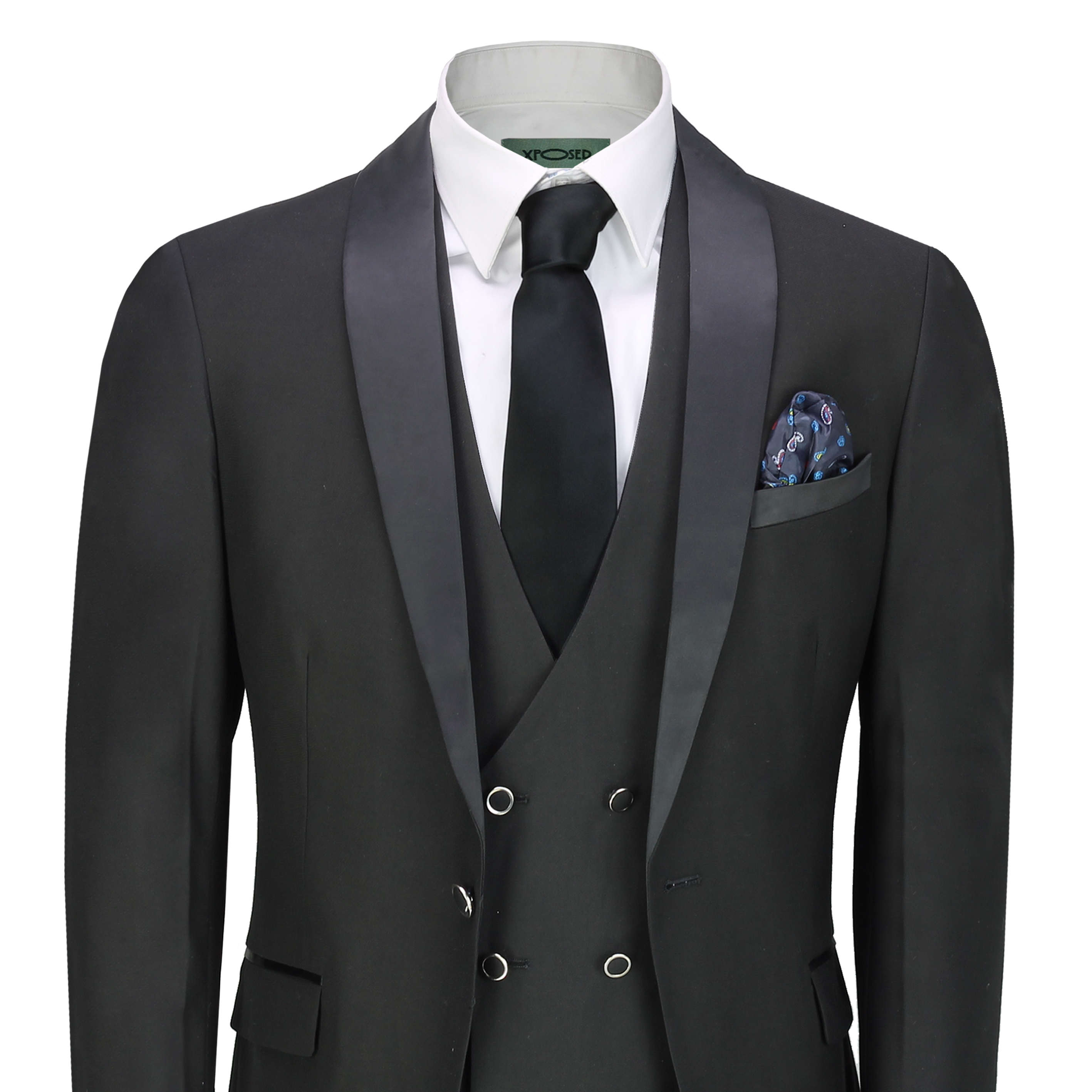 Mens Black 3 Piece Tuxedo Suit Wedding Formal Tailored Fit