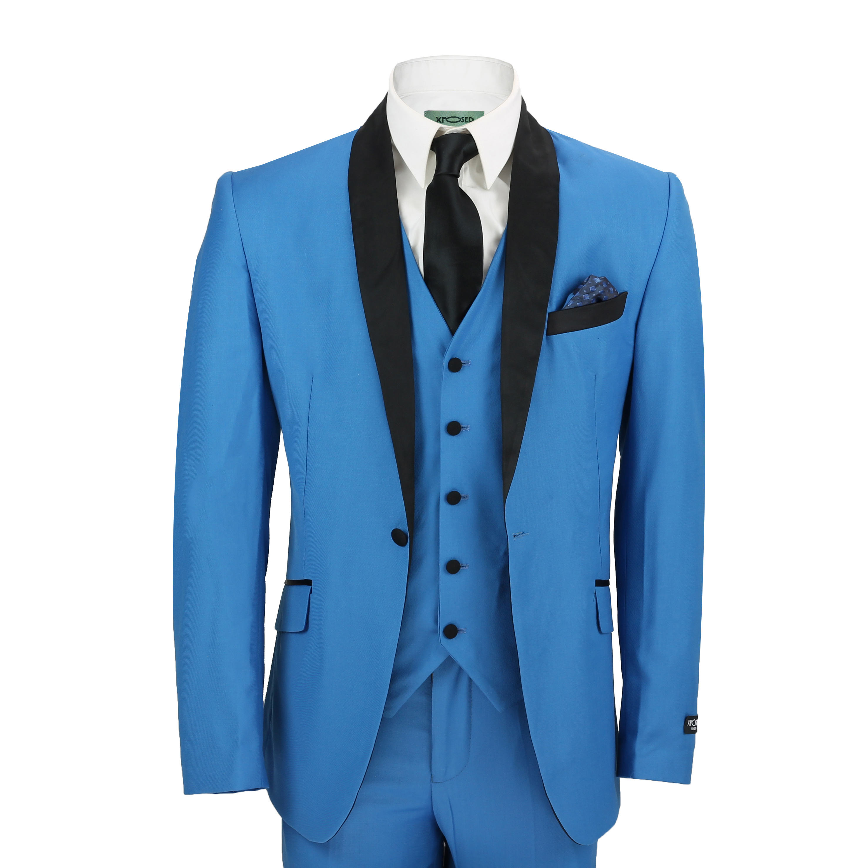 Mens 3 Piece Suit in Blue Shawl Lapels Vintage Tailored Fit Wedding ...