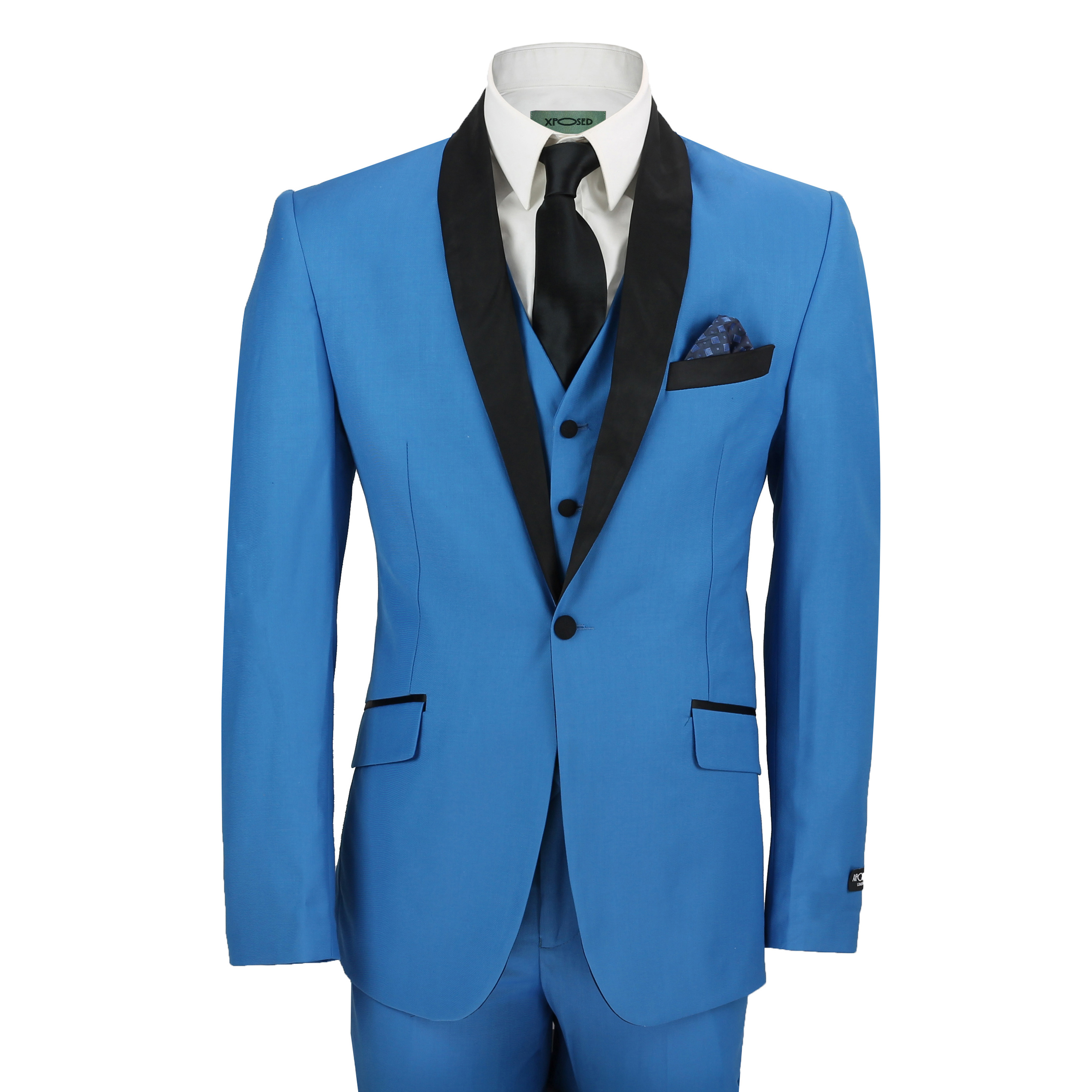 Mens 3 Piece Suit in Blue Shawl Lapels Vintage Tailored Fit Wedding ...