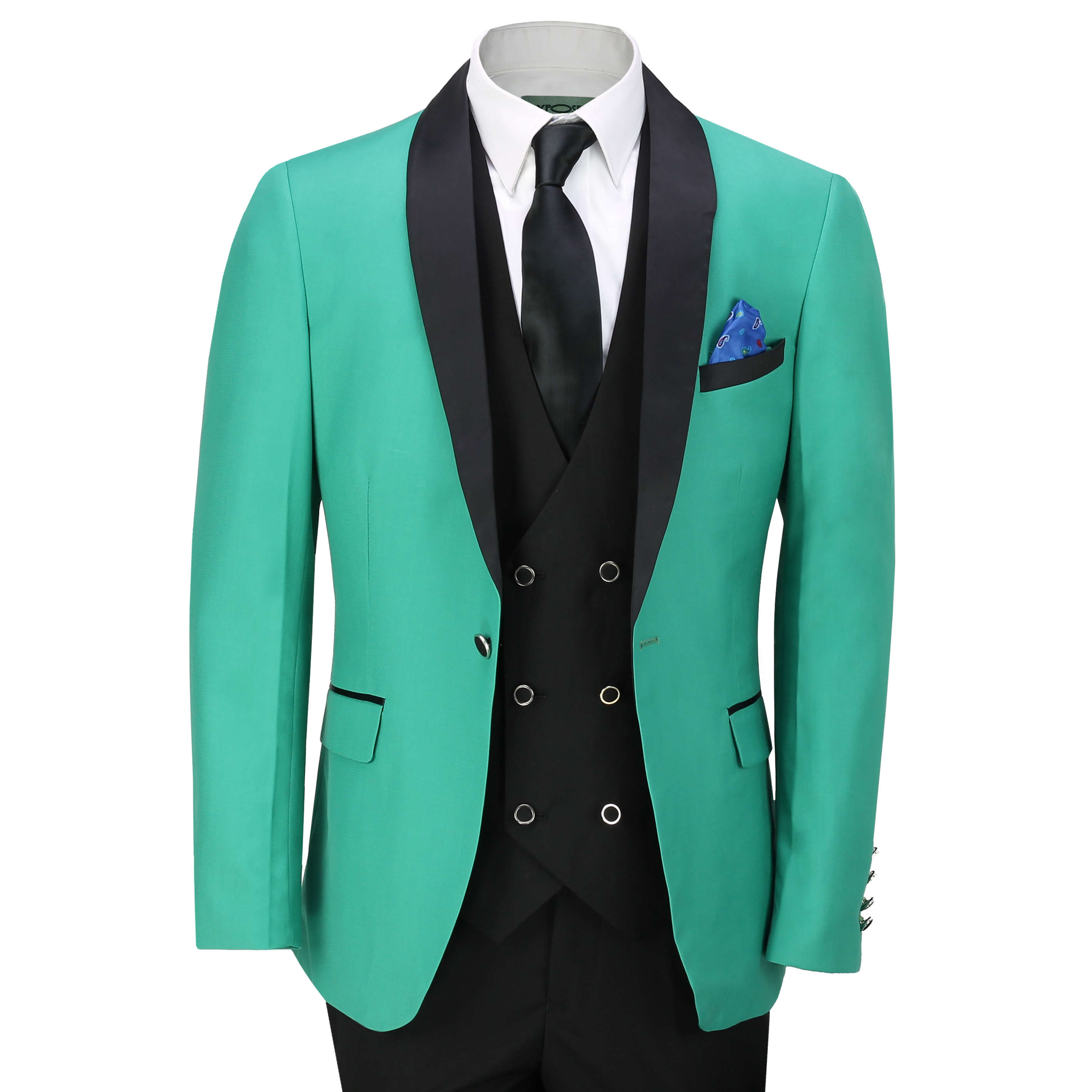 Mens 3 Piece Tuxedo Suit Formal Wedding Green Tailored Fit