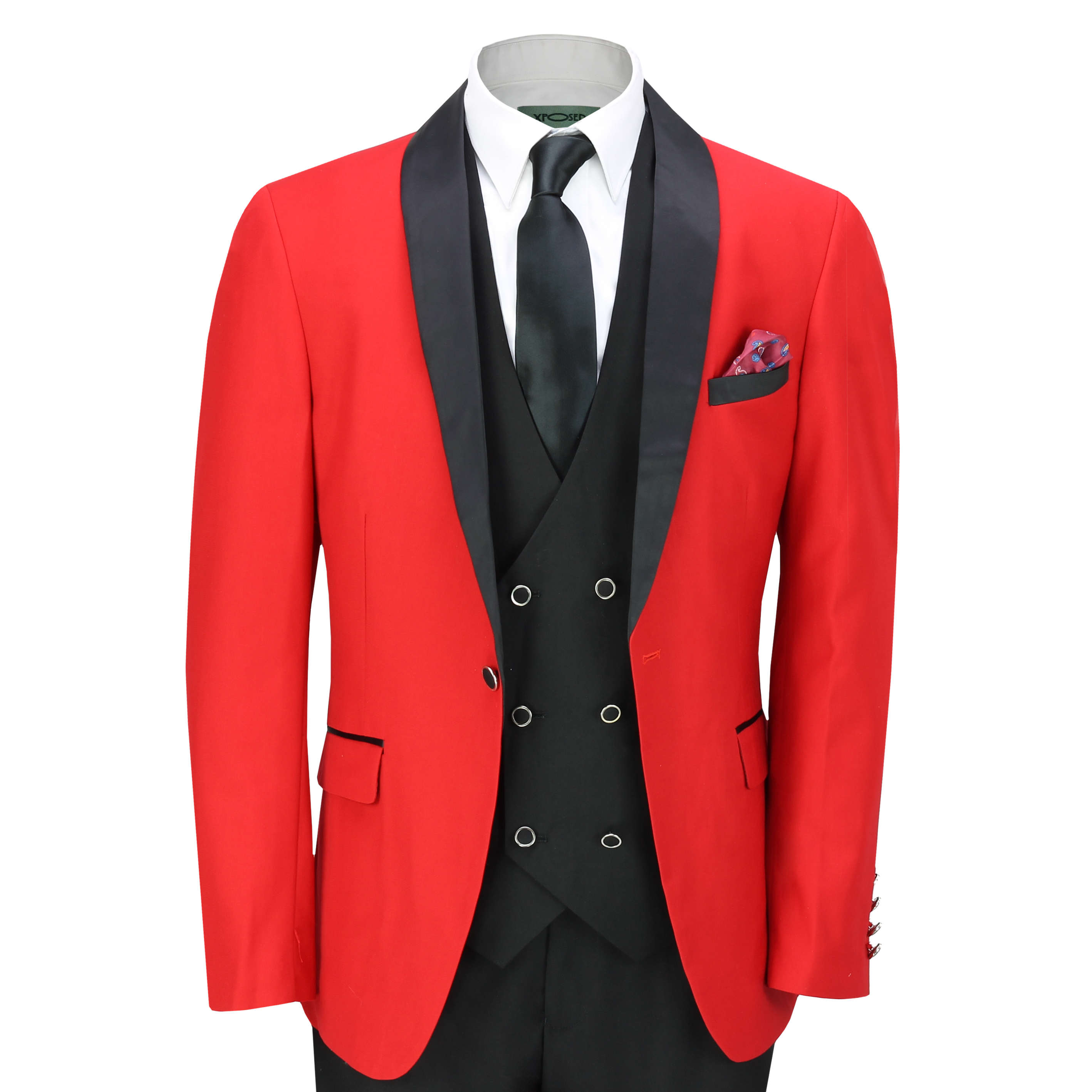 c68cf86acb9 Details about Mens 3 Piece Tuxedo Suit Formal Wedding Party Tailored Fit Dinner  Jacket in Red