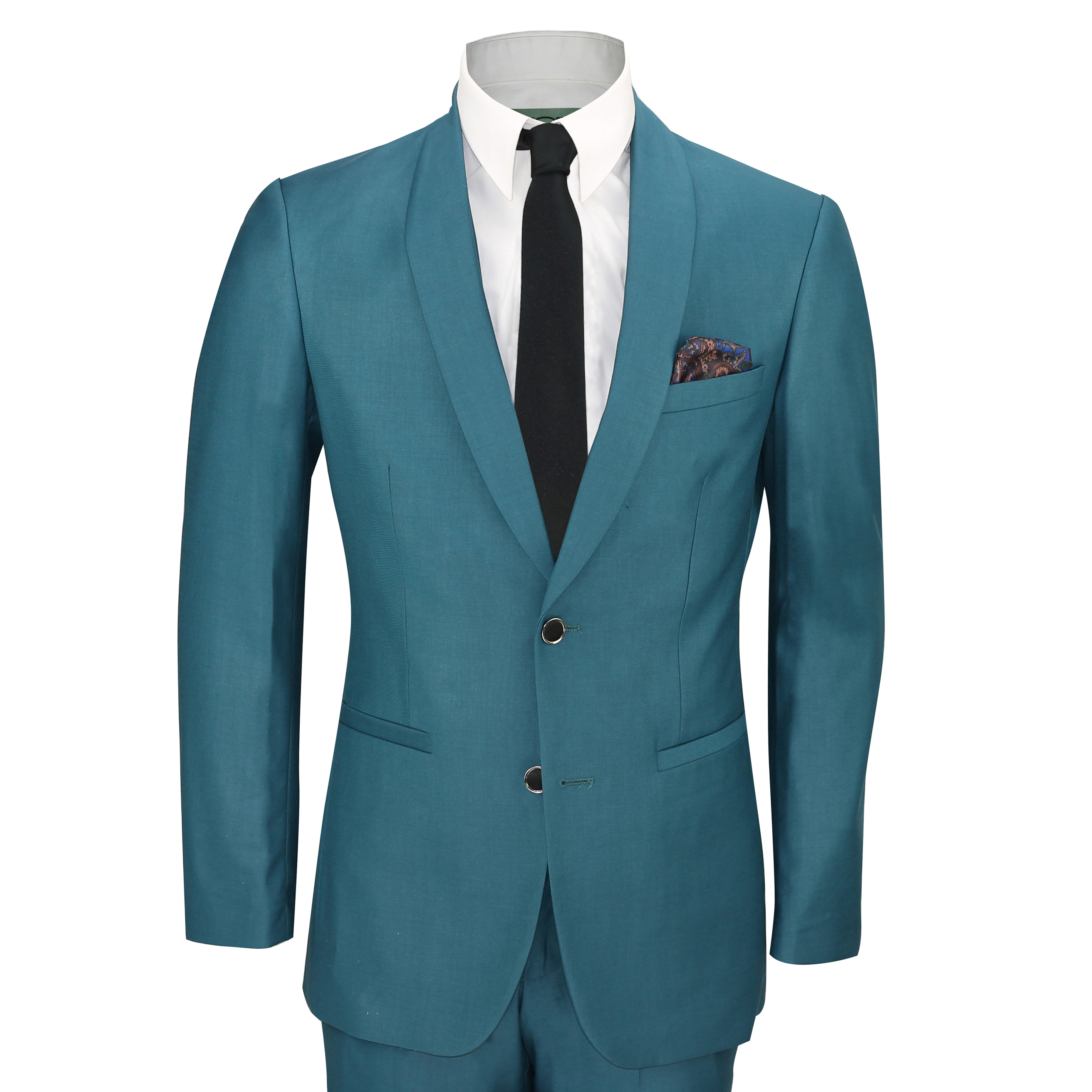 Mens 3 Piece Teal Blue Shawl Lapel Slim Fit Vintage Smart Tux Suit ...