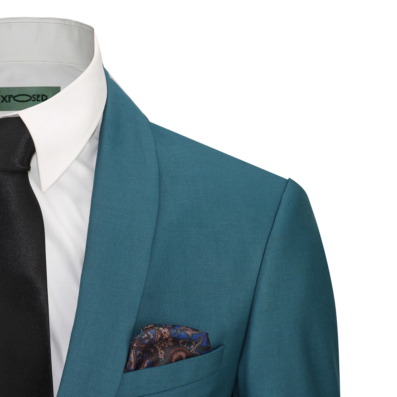Mens 3 Piece Teal Blue Shawl Lapel Slim Fit Vintage Smart Tux Suit ...