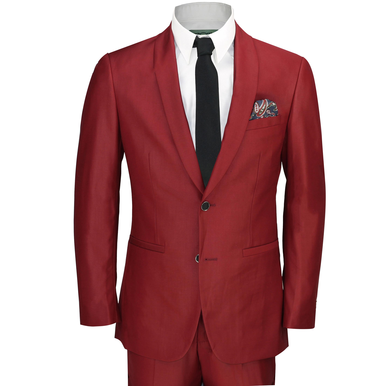 18929c95218f Details about New Mens 3 Piece Maroon Shawl Lapel Slim Fit Vintage Tux Suit  Wedding Party Prom
