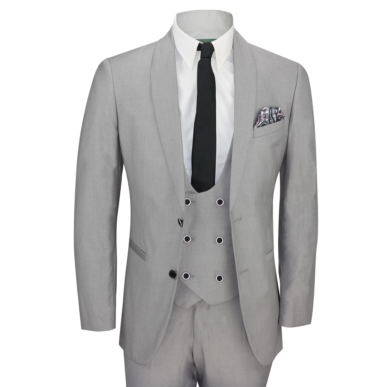 9b017ffc010b Mens 3 Piece Grey Shawl Lapel Slim Fit Vintage Smart Tux Suit Wedding Party  Prom