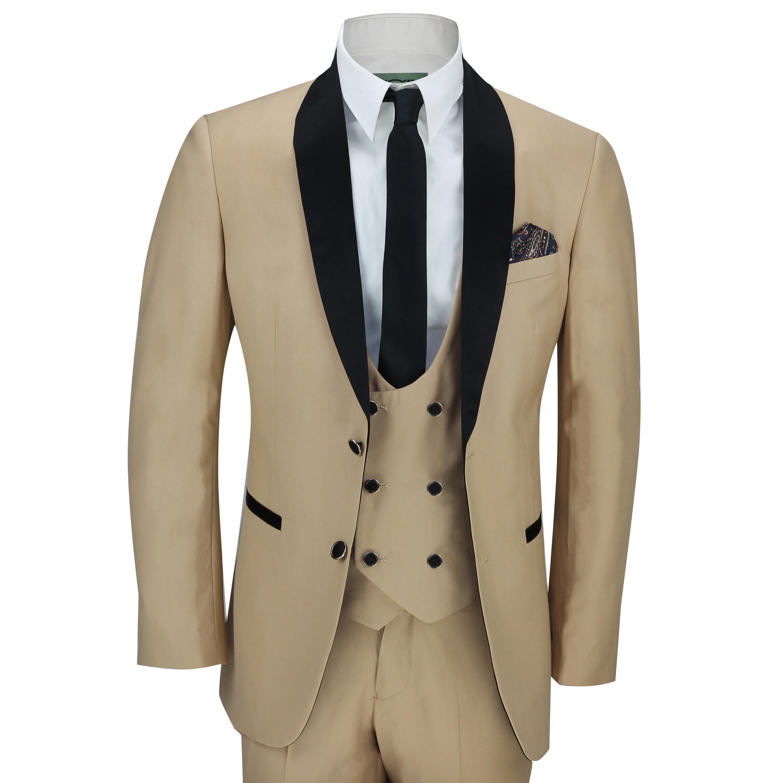 cc91a091cf0a Details about Mens 3 Piece Black Shawl Lapel Champagne Gold Slim Fit  Vintage Suit Wedding Prom