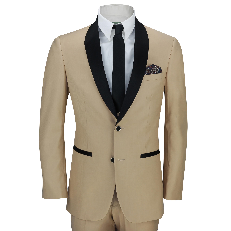 Mens 3 Piece Black Shawl Lapel Champagne Gold Slim Fit Vintage Suit ...