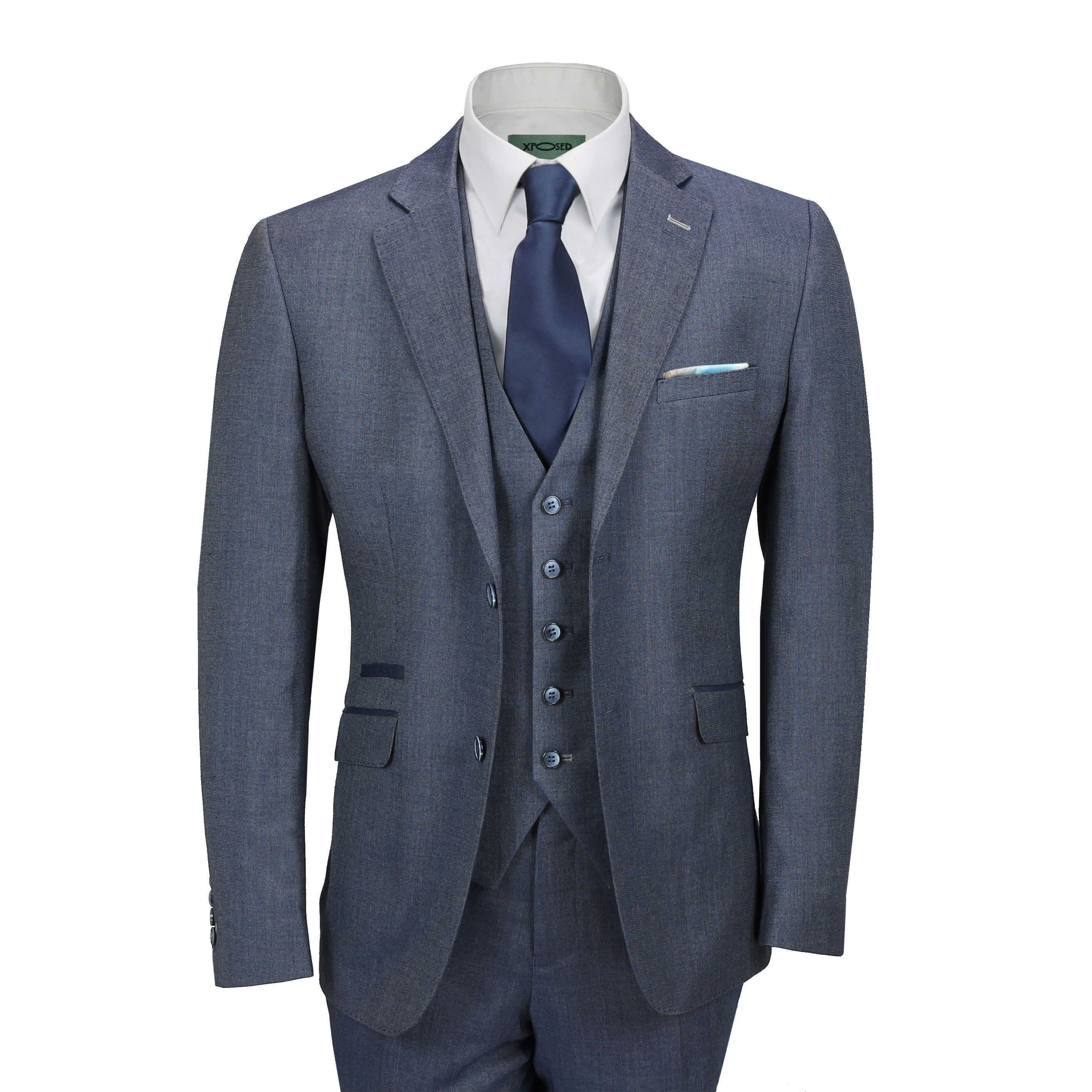 d3d7b62880 Mens Blue Grey Classic 3 Piece Suit Formal Work Smart Casual Tailored Fit  Jacket