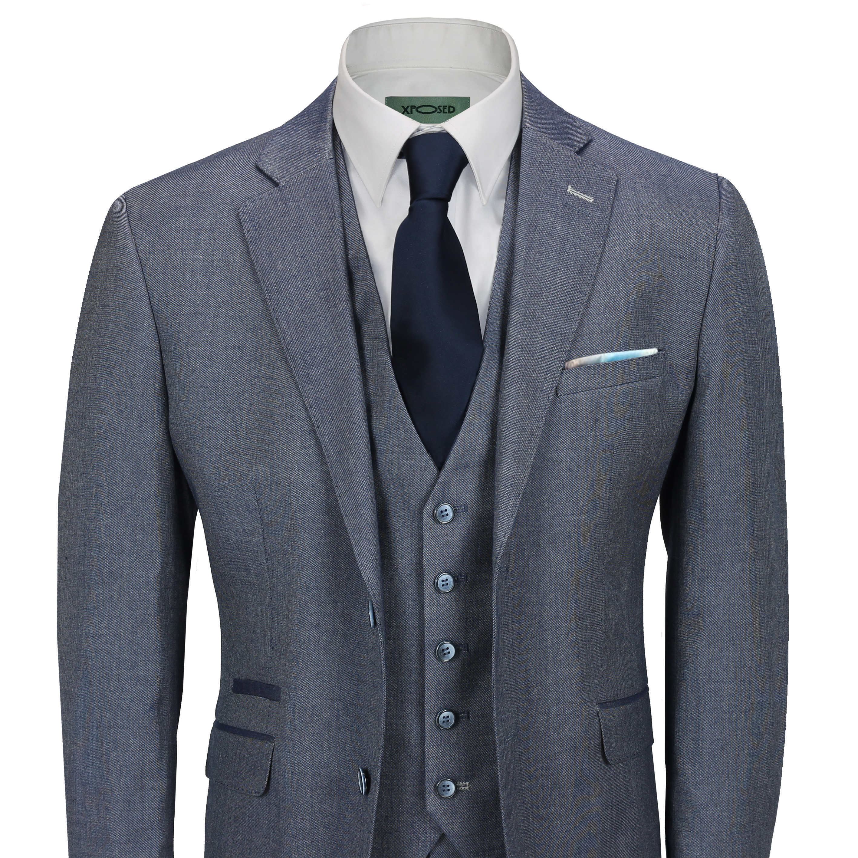 b67309b8a5 Details about Mens Blue Grey Classic 3 Piece Suit Formal Work Smart Casual  Tailored Fit Jacket