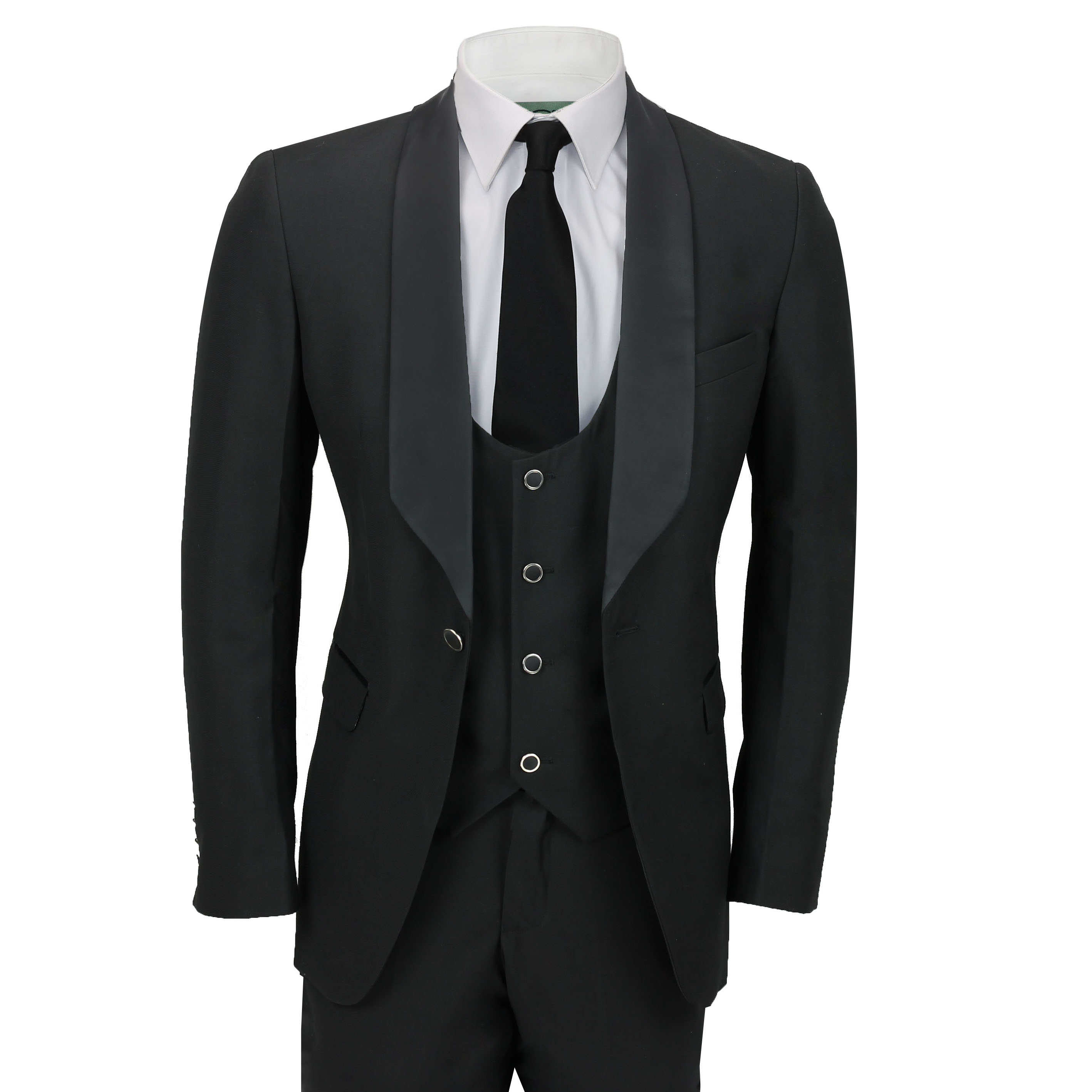 Mens 3 Piece Wedding Suit Shawl Lapel Slim Fit Dinner Jacket ...